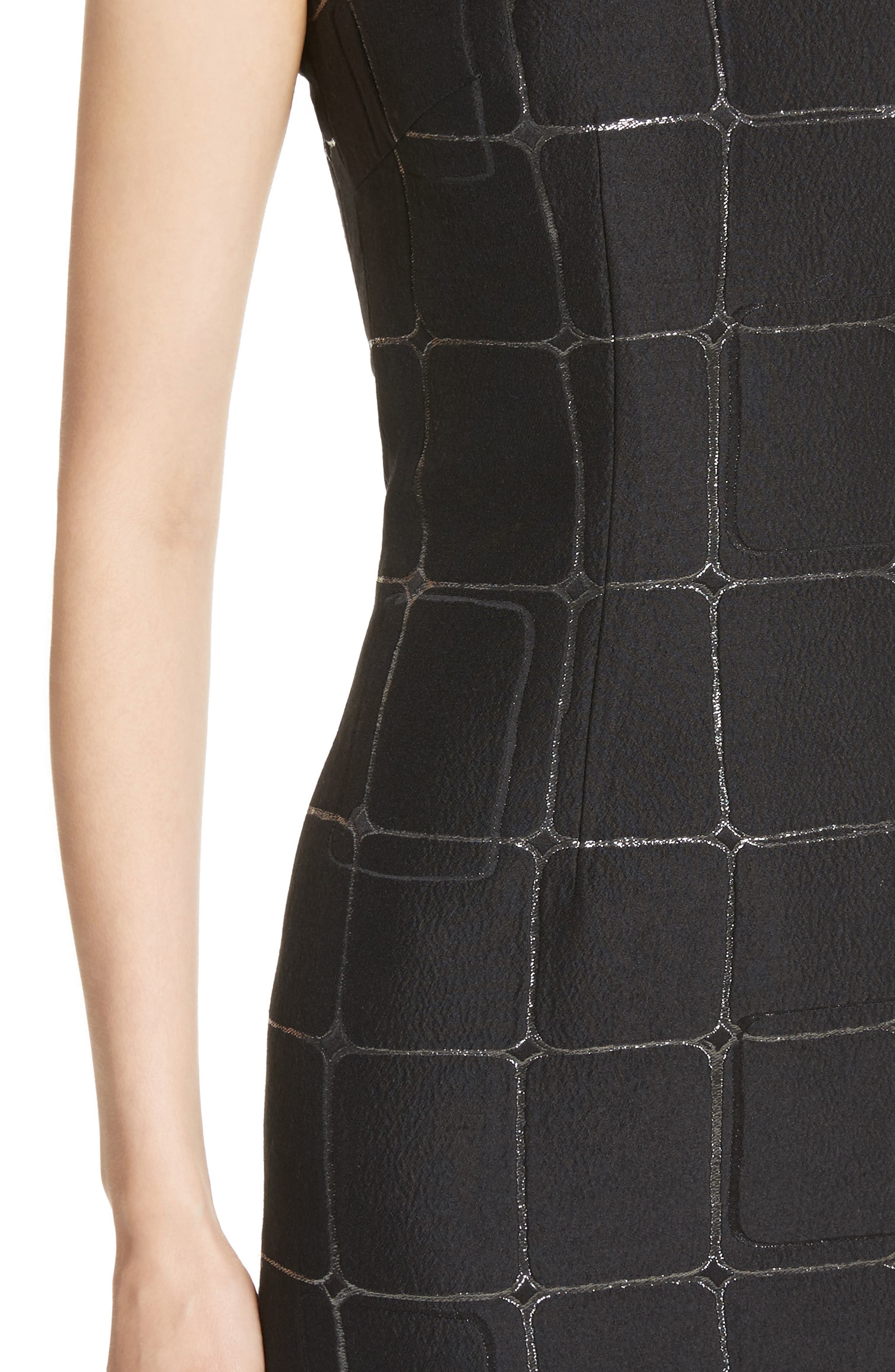 Metallic Jacquard Sheath Dress,                             Alternate thumbnail 6, color,                             Caviar Metallic