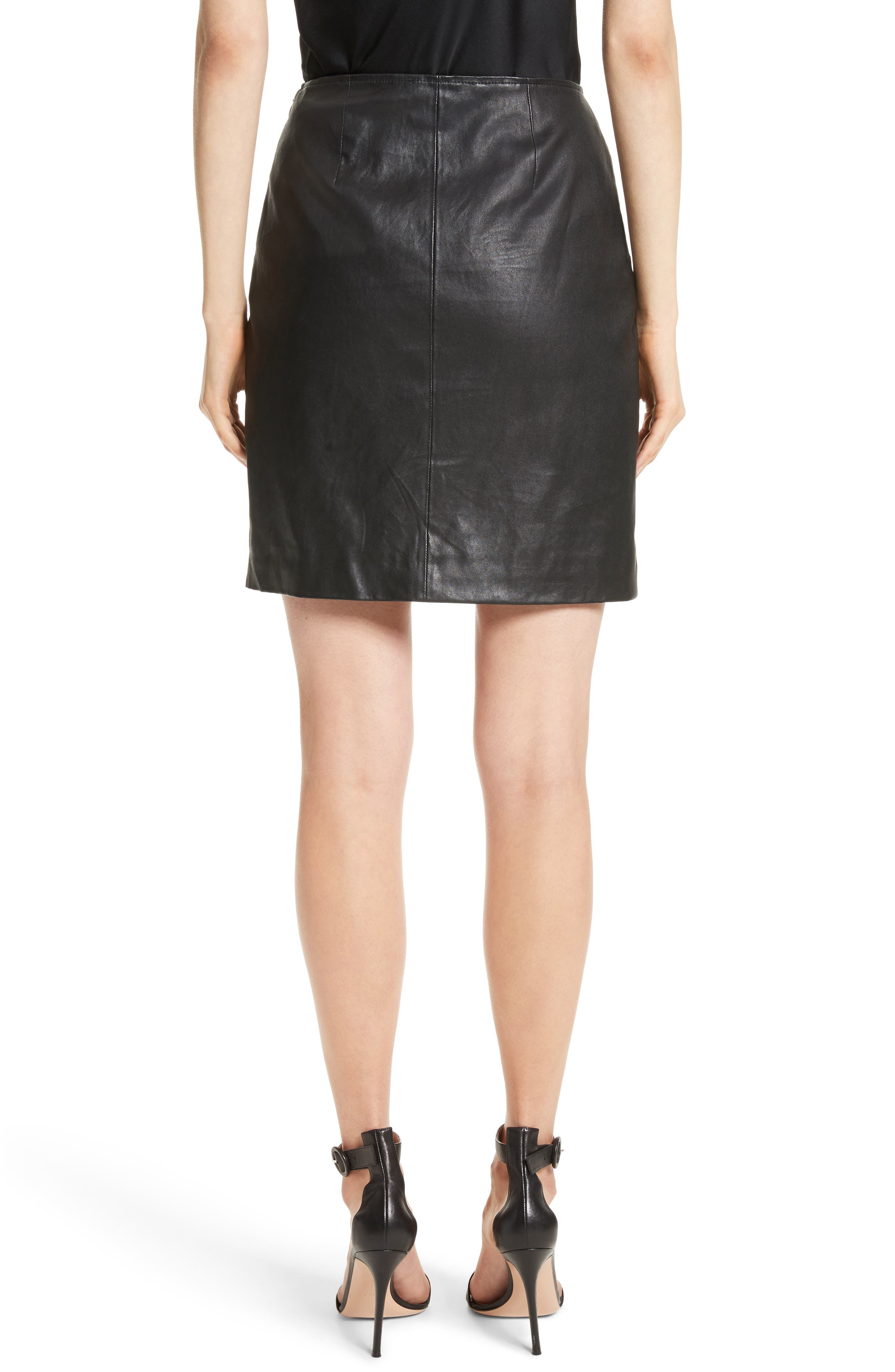 Stretch Nappa Leather Skirt,                             Alternate thumbnail 2, color,                             Caviar