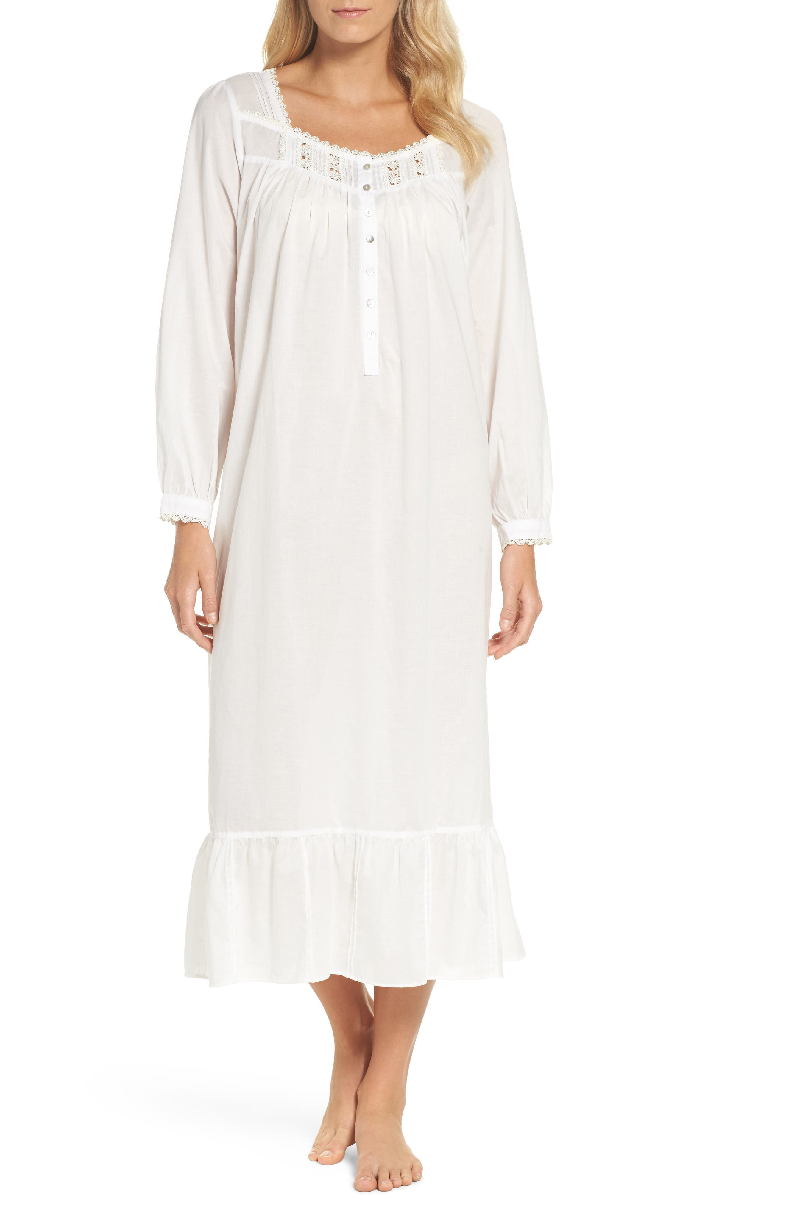 Main Image - Eileen West Long Sleeve Lawn Nightgown