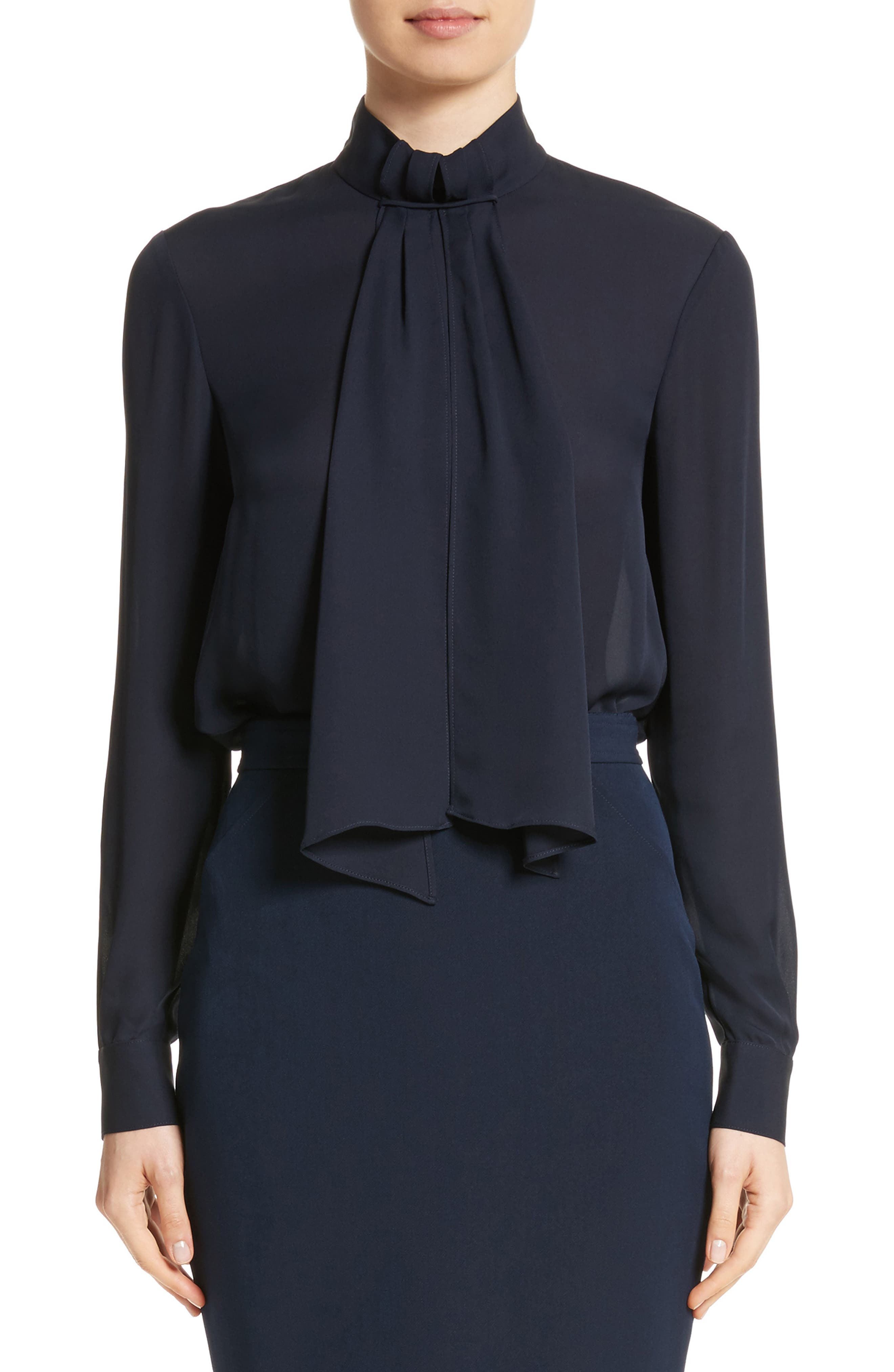 Scarf Neck Tie Blouson Sleeve Blouse,                         Main,                         color, Navy