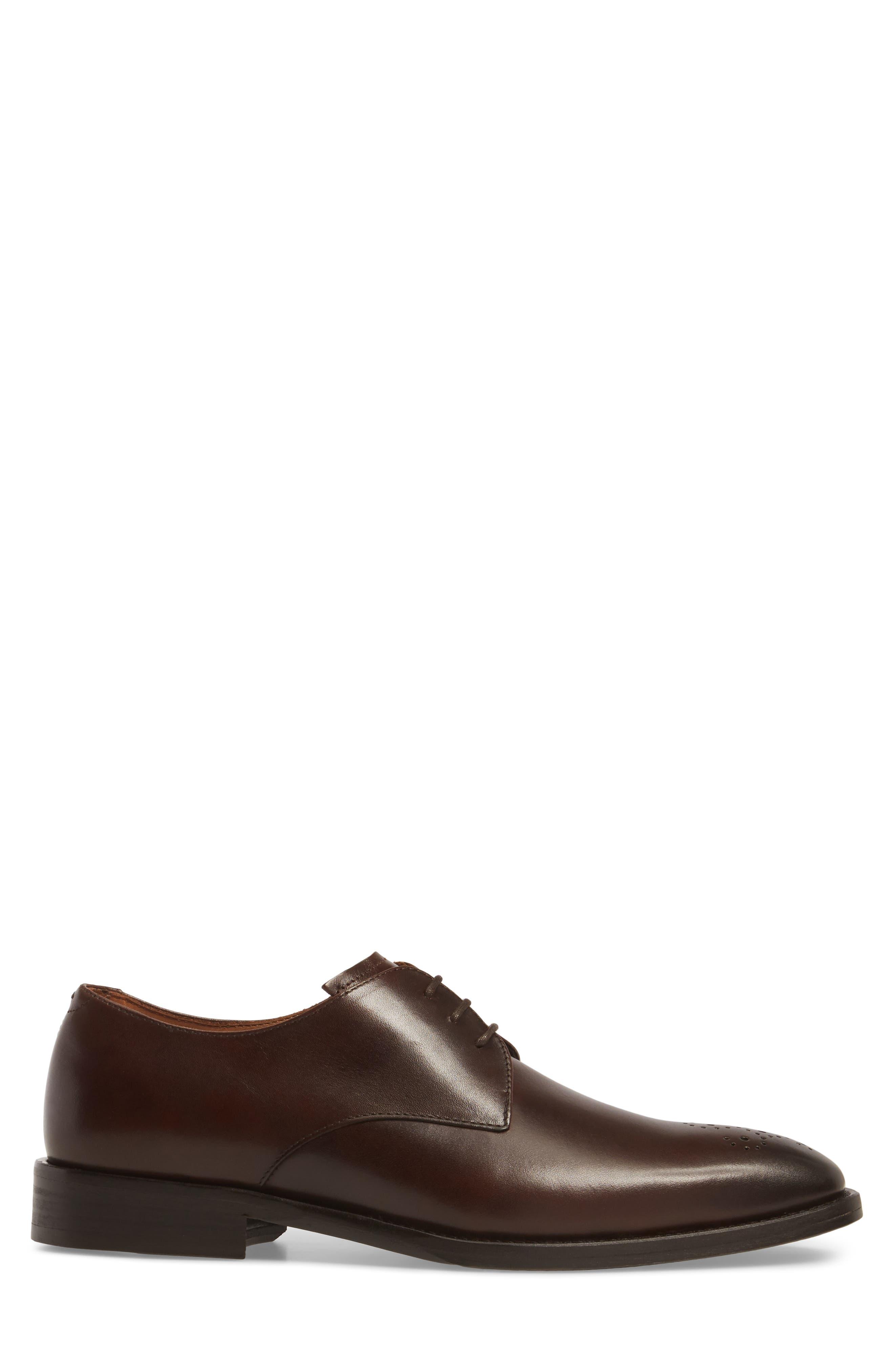 Haltter Medallion Toe Derby,                             Alternate thumbnail 3, color,                             Dark Brown Leather