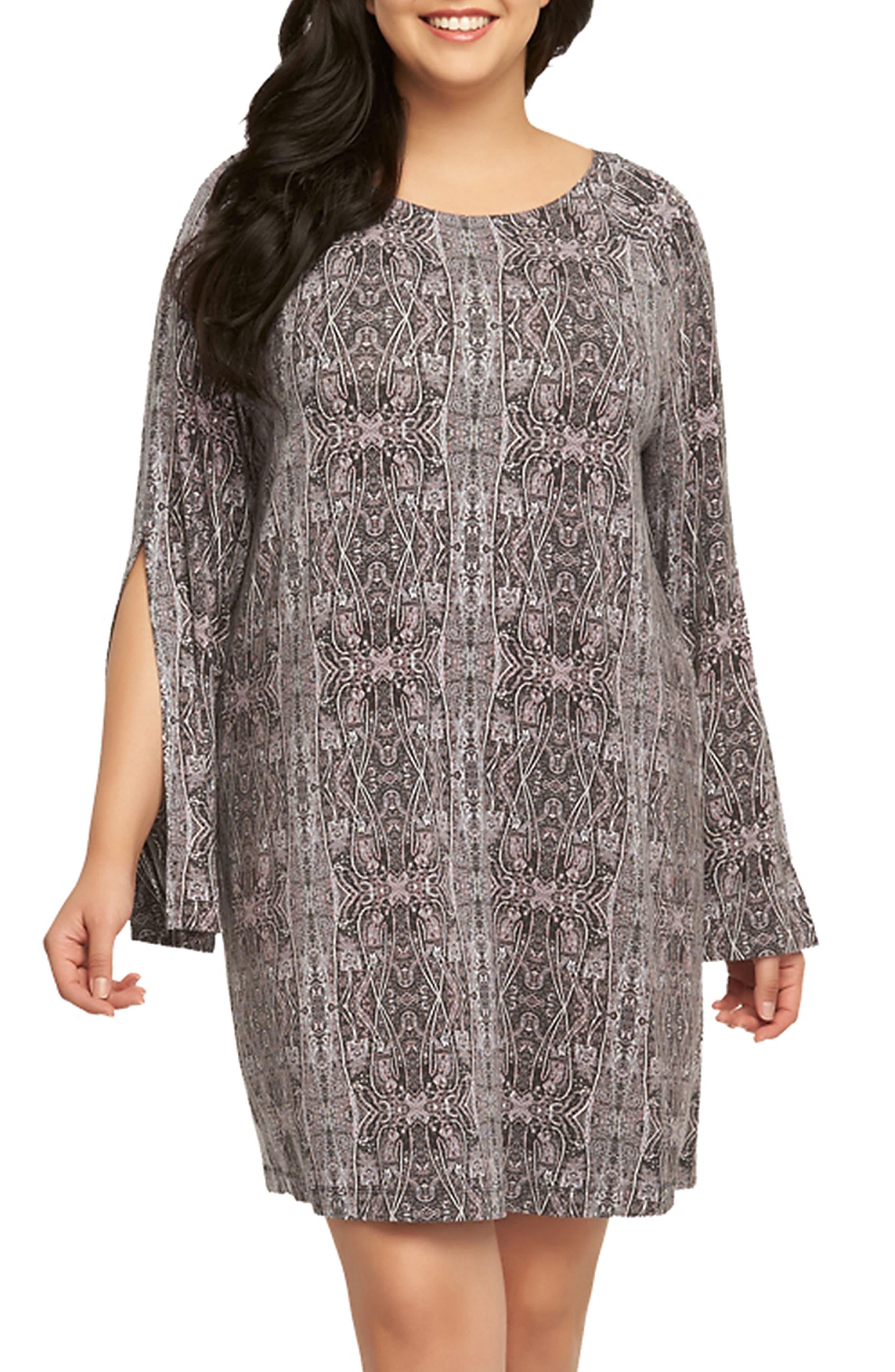 Avia Print Split Sleeve Shift Dress,                         Main,                         color, Kashmir Labyrinth