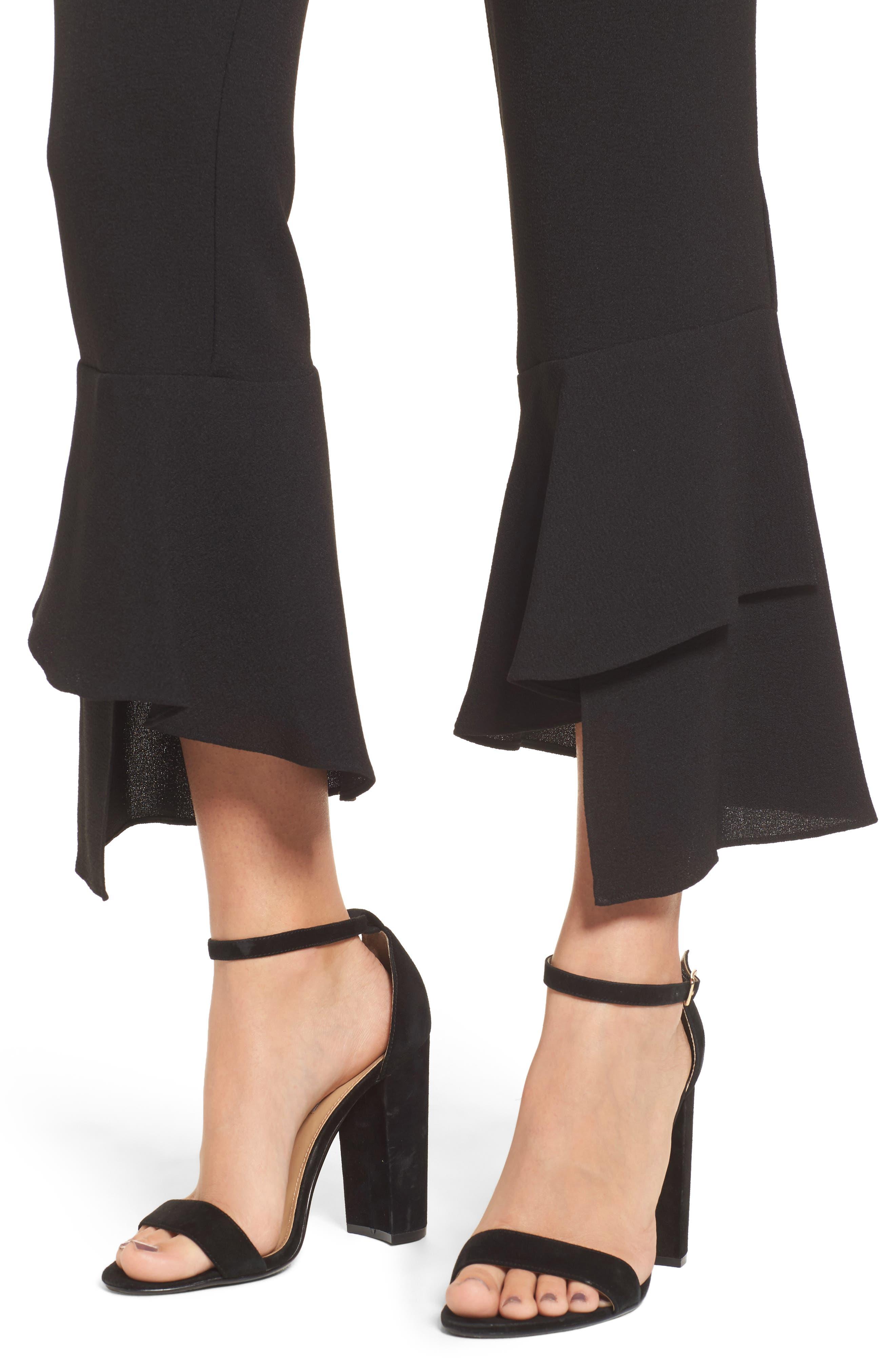 Gail Ruffle Hem Crop Pants,                             Alternate thumbnail 4, color,                             Black