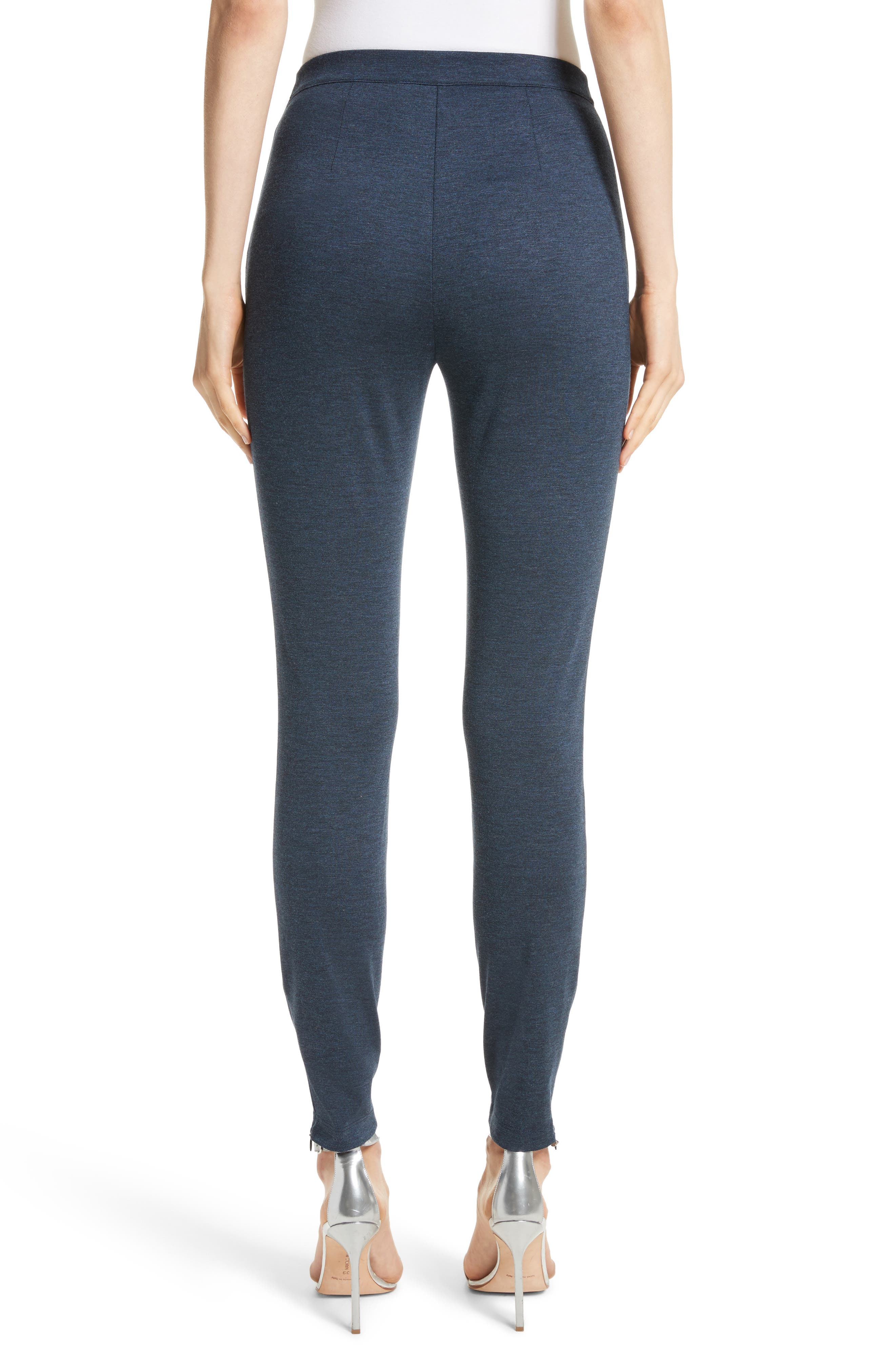 Mélange Stretch Ponte Crop Pants,                             Alternate thumbnail 2, color,                             Dark Blue