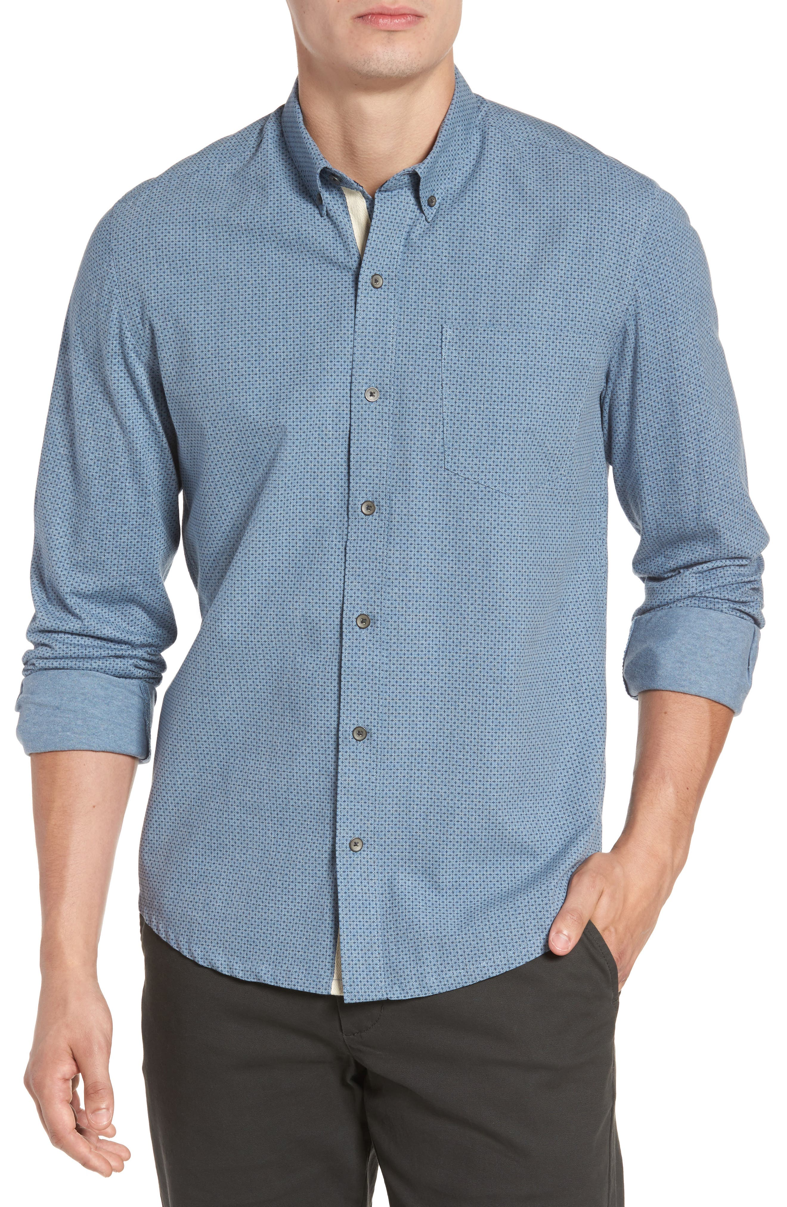 Reworked Patterned Sport Shirt,                         Main,                         color, Blue