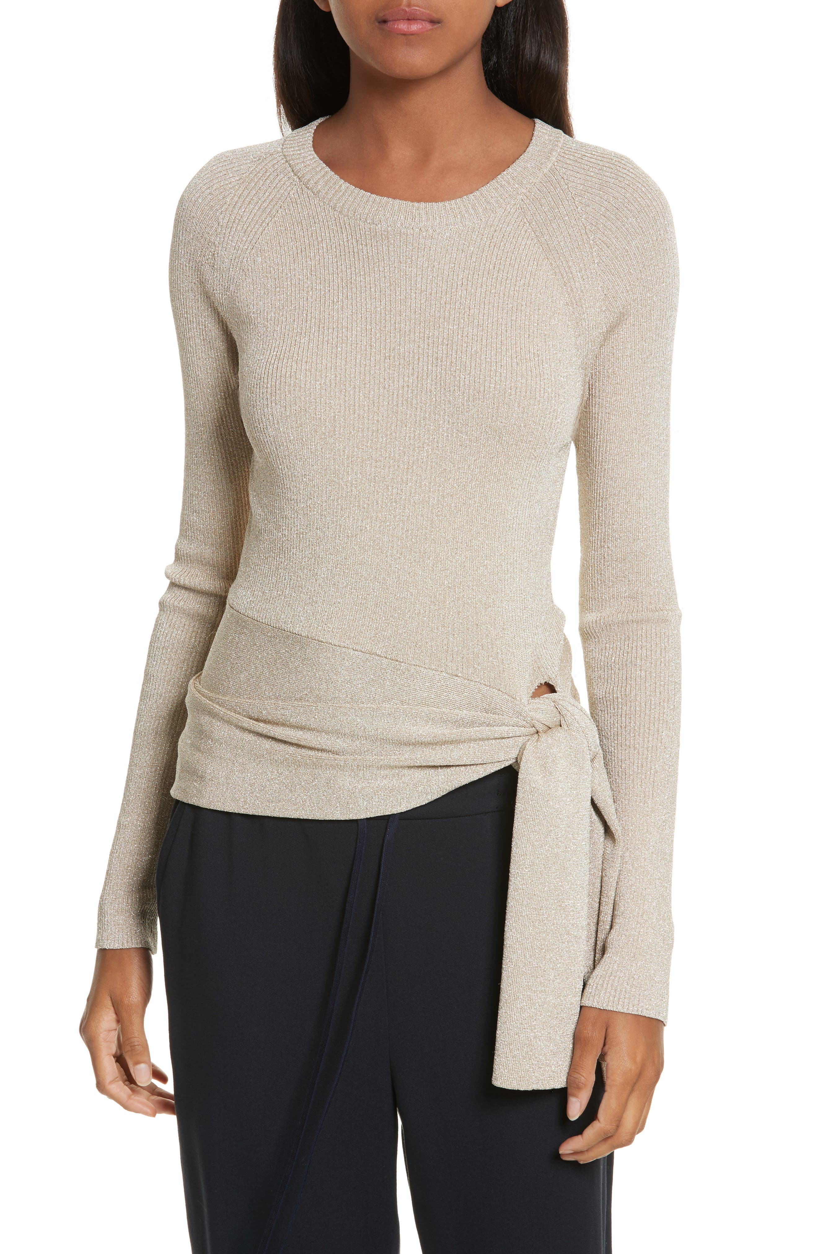 Metallic Side Tie Sweater,                             Main thumbnail 1, color,                             Gold