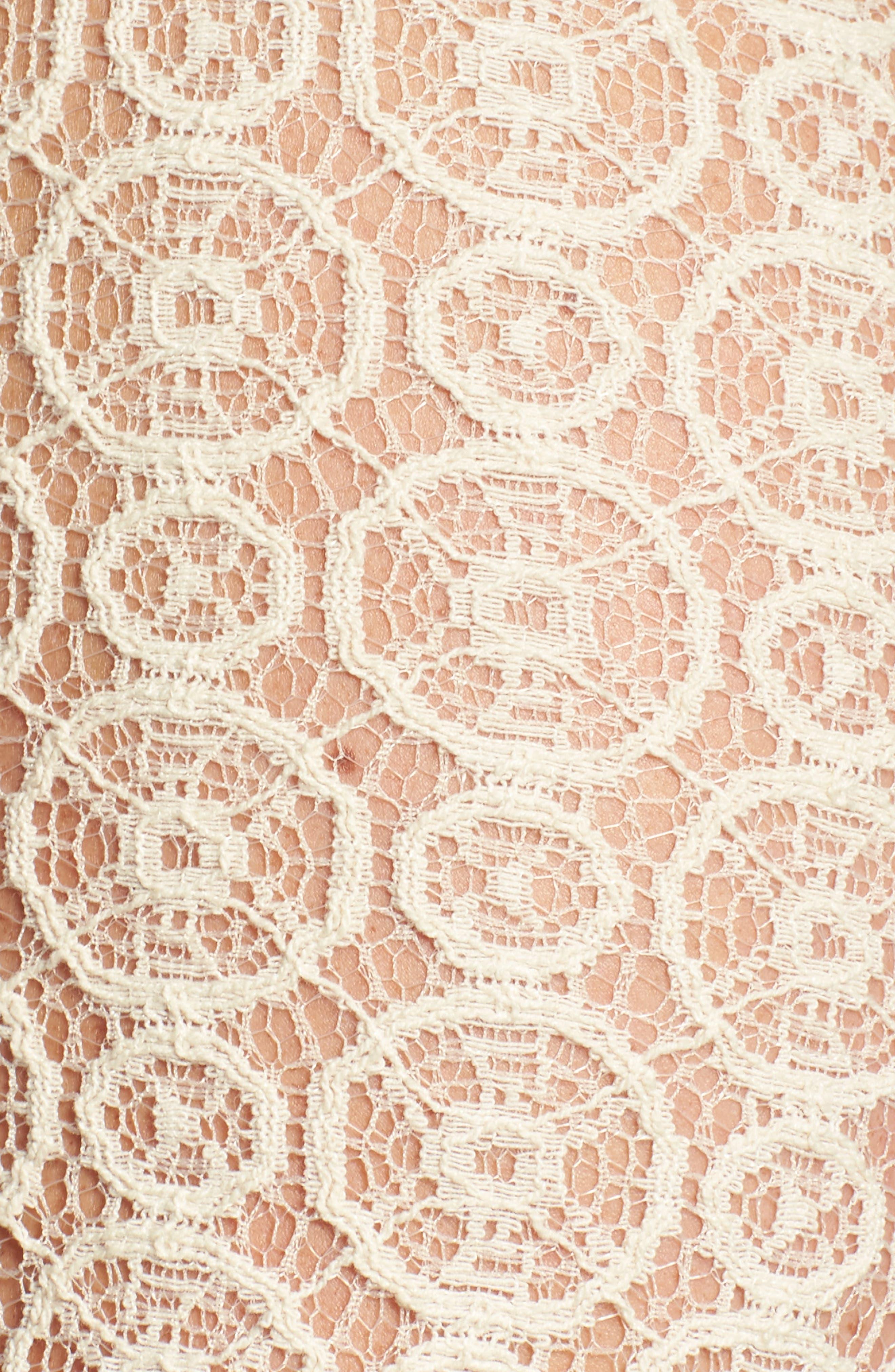 Fringe Trim Lace Top,                             Alternate thumbnail 5, color,                             Cream