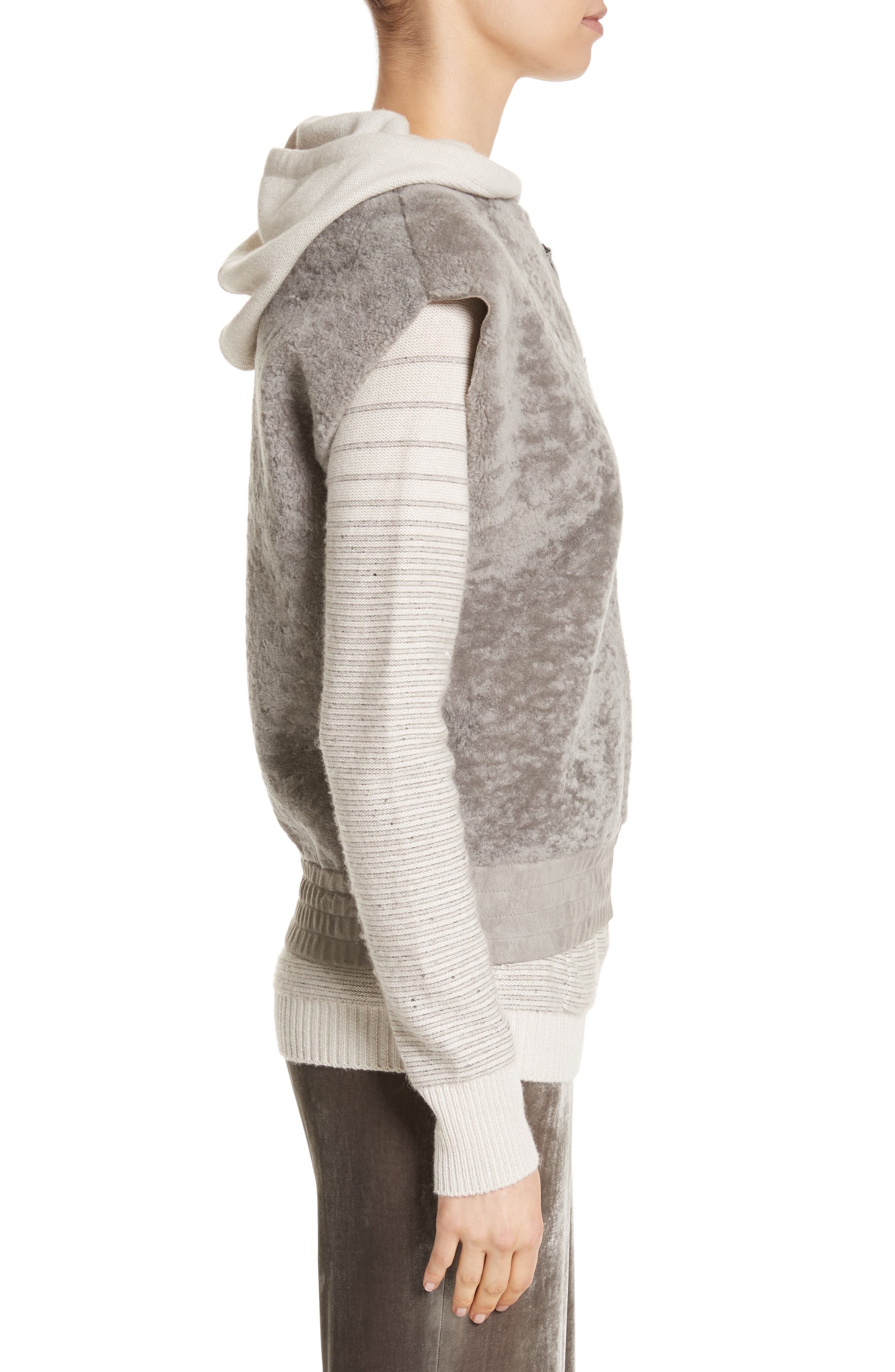 Genuine Shearling Vest,                             Alternate thumbnail 3, color,                             Travertine