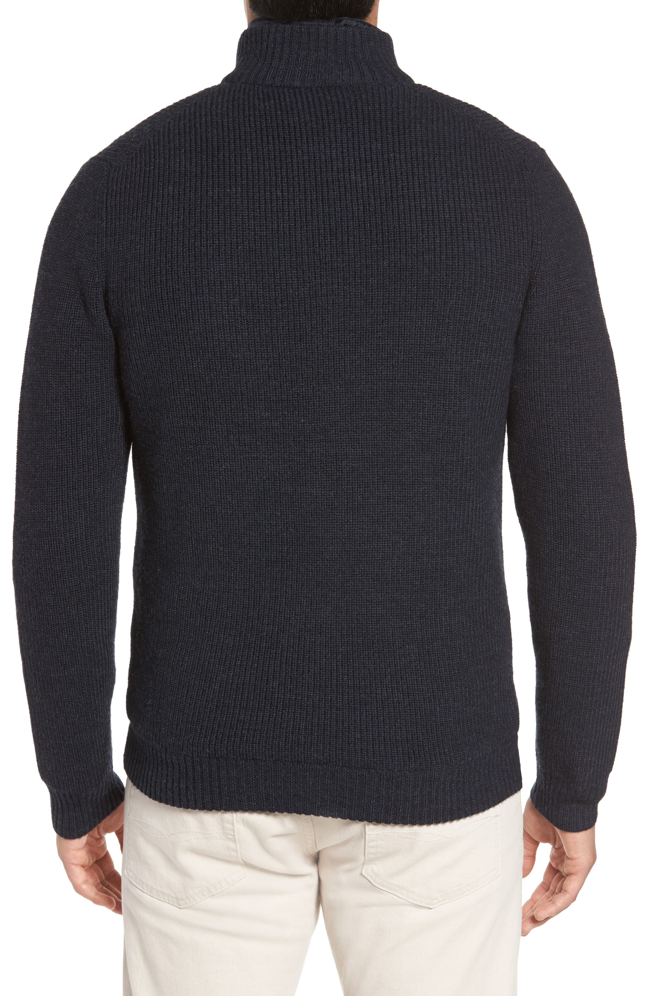 Camerons Track Zip Wool Sweater,                             Alternate thumbnail 2, color,                             Midnight