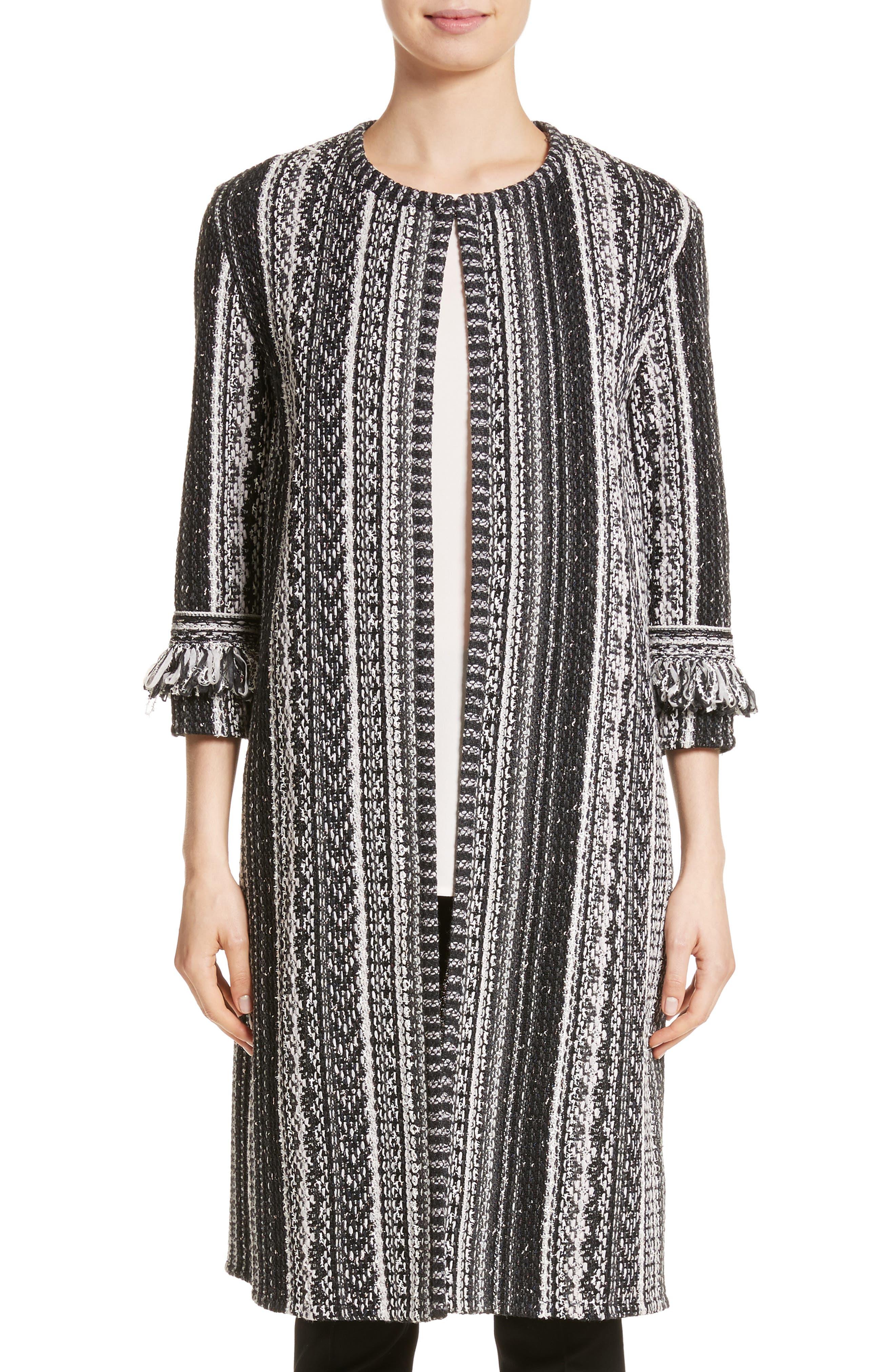 Fringe Ombré Stripe Tweed Knit Jacket,                         Main,                         color, Caviar Multi
