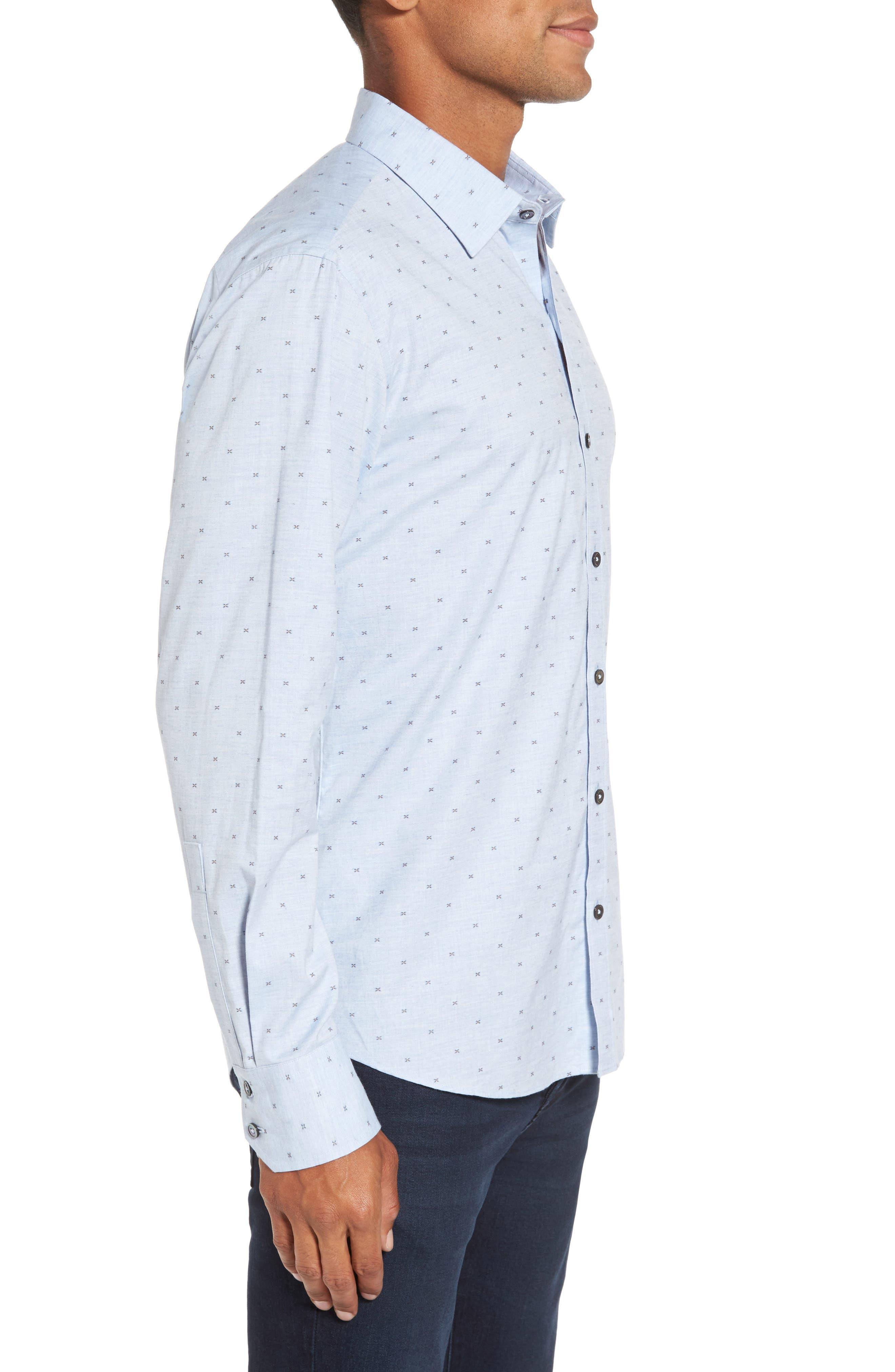 Caffoe Slim Fit Dobby Sport Shirt,                             Alternate thumbnail 3, color,                             Blue