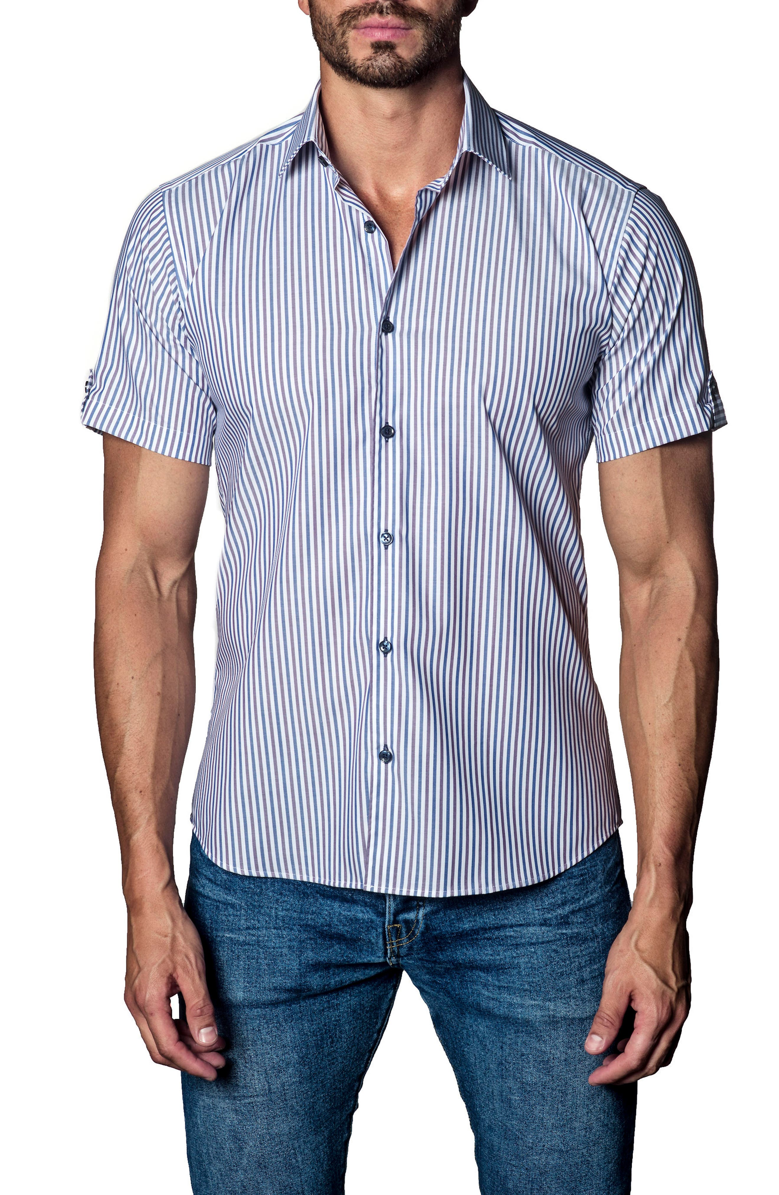 Stripe Sport Shirt,                         Main,                         color, White/ Blue/ Brown Stripe