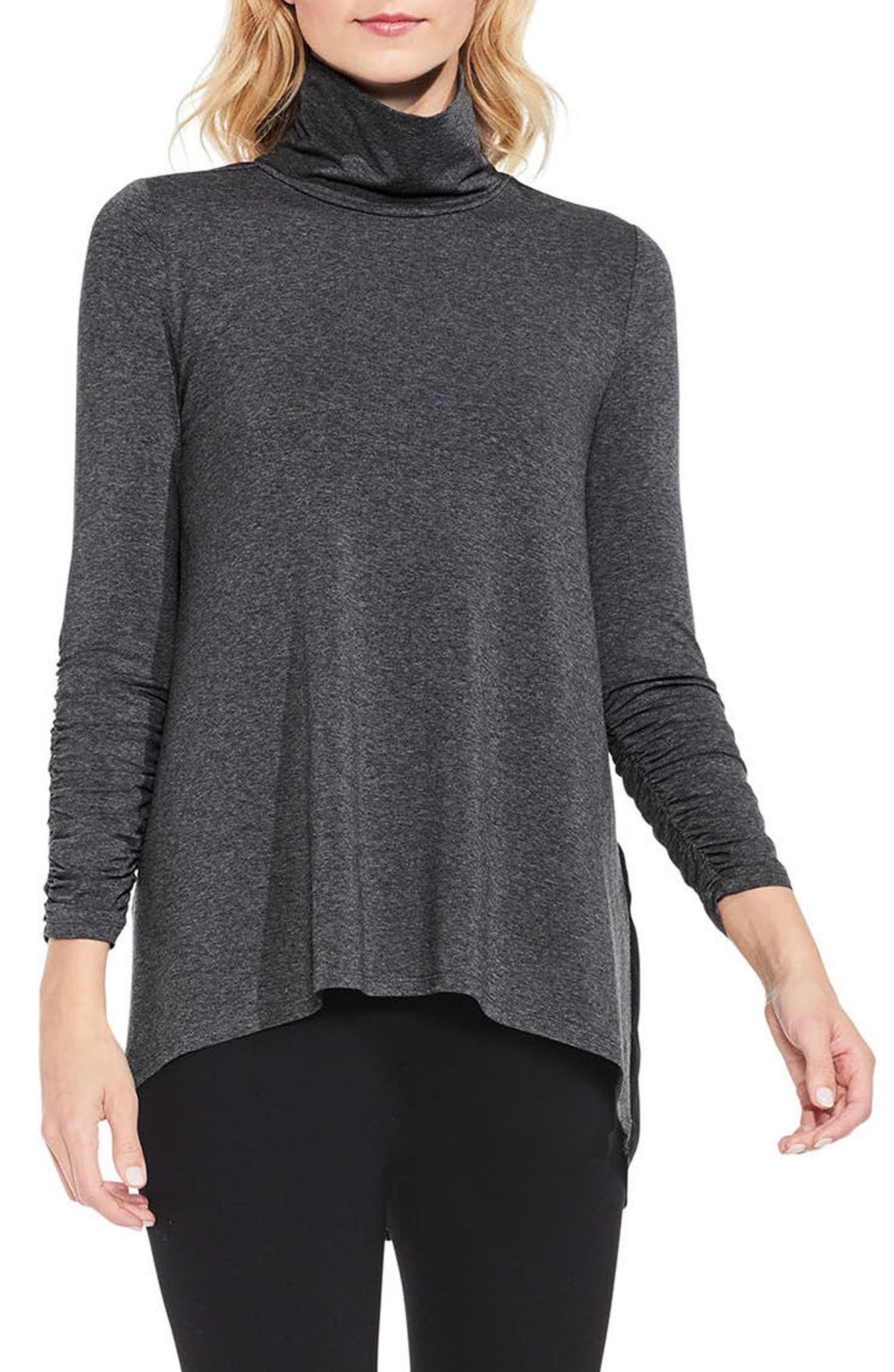 Ruched Sleeve Turtleneck,                         Main,                         color, Medium Heather Grey