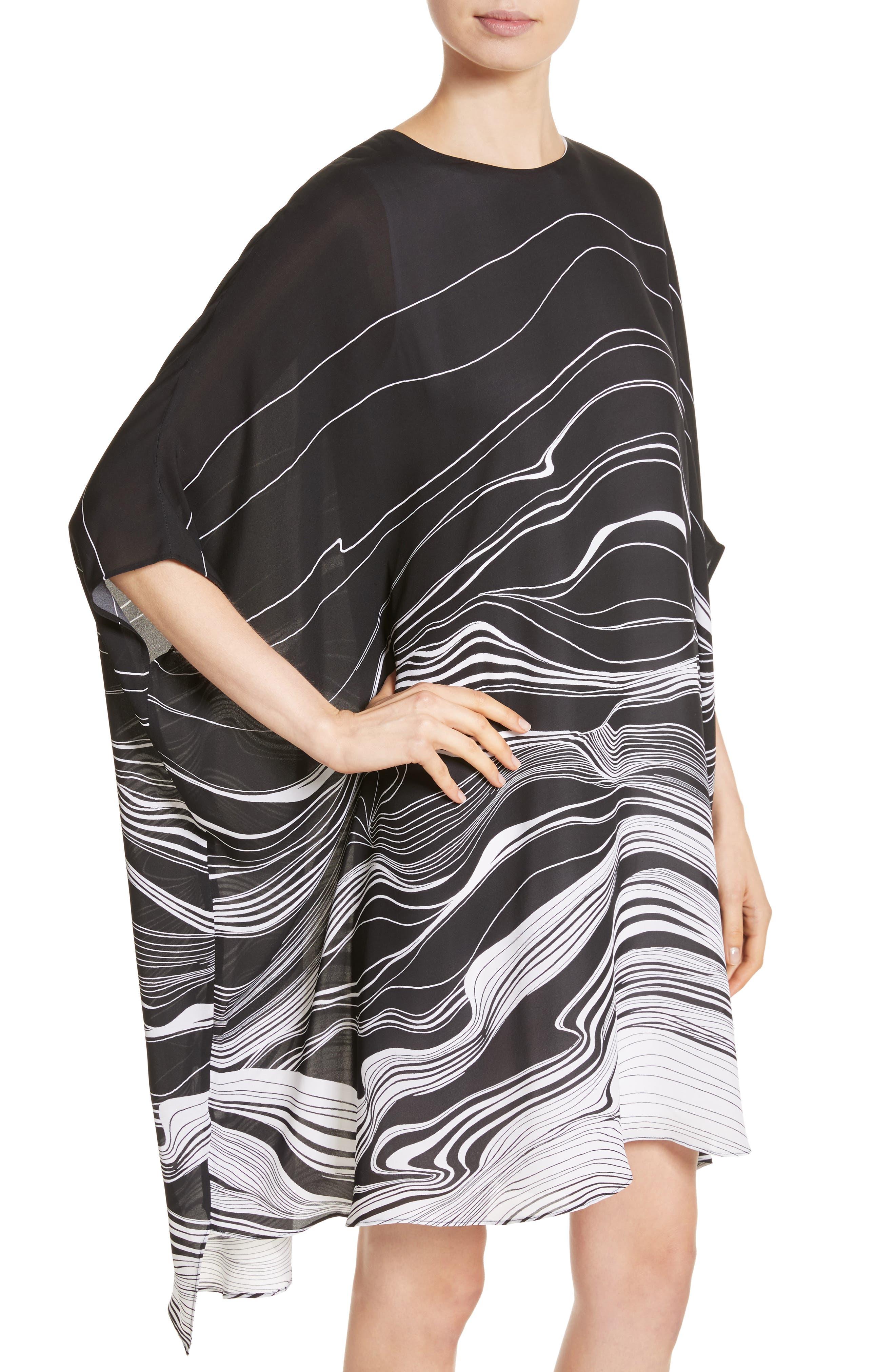 Brushstroke Print Silk Satin Dress,                             Alternate thumbnail 4, color,                             Caviar/ Bianco