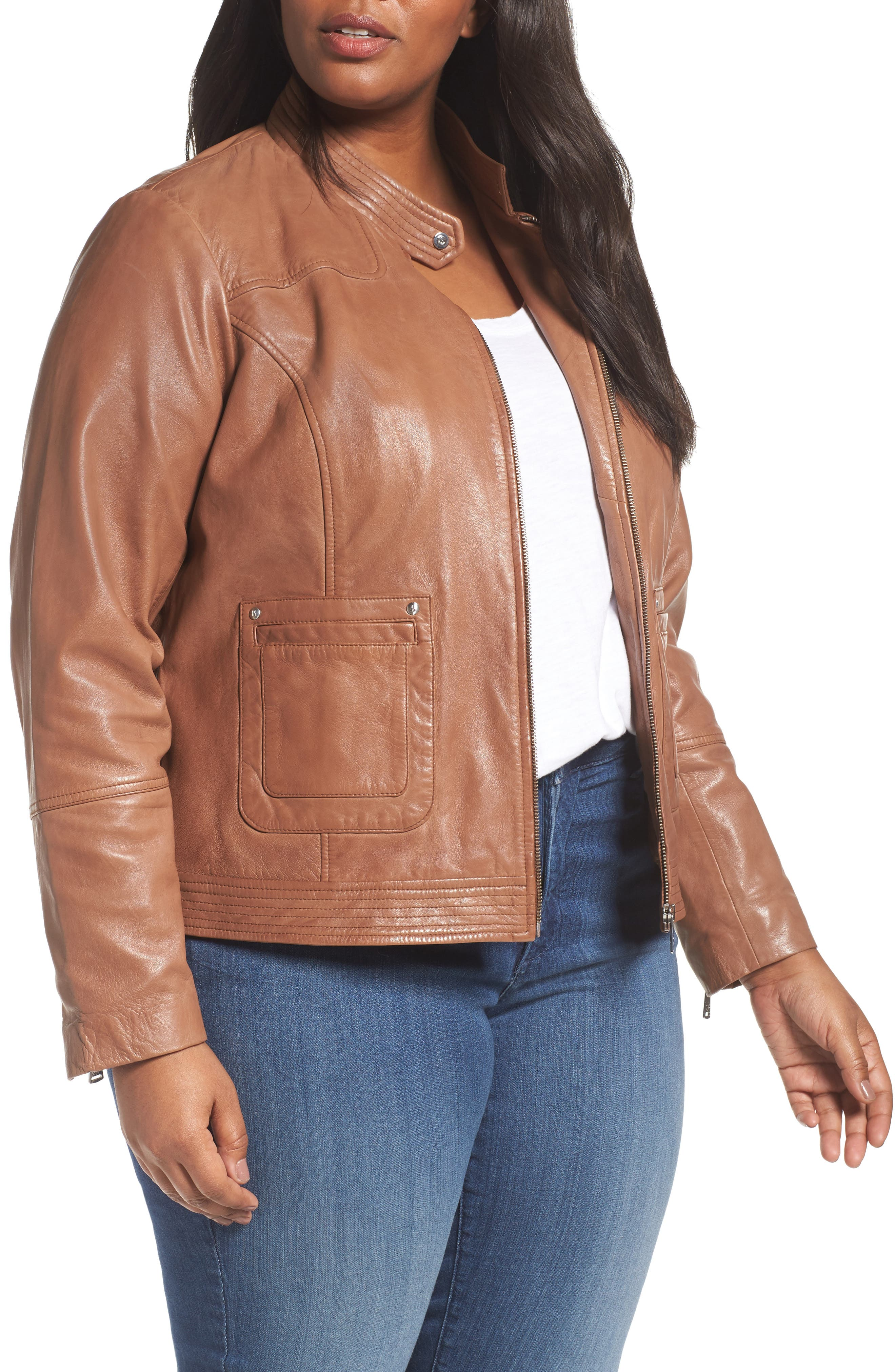 Bernardo Kirwin Sheepskin Leather Jacket (Plus Size)