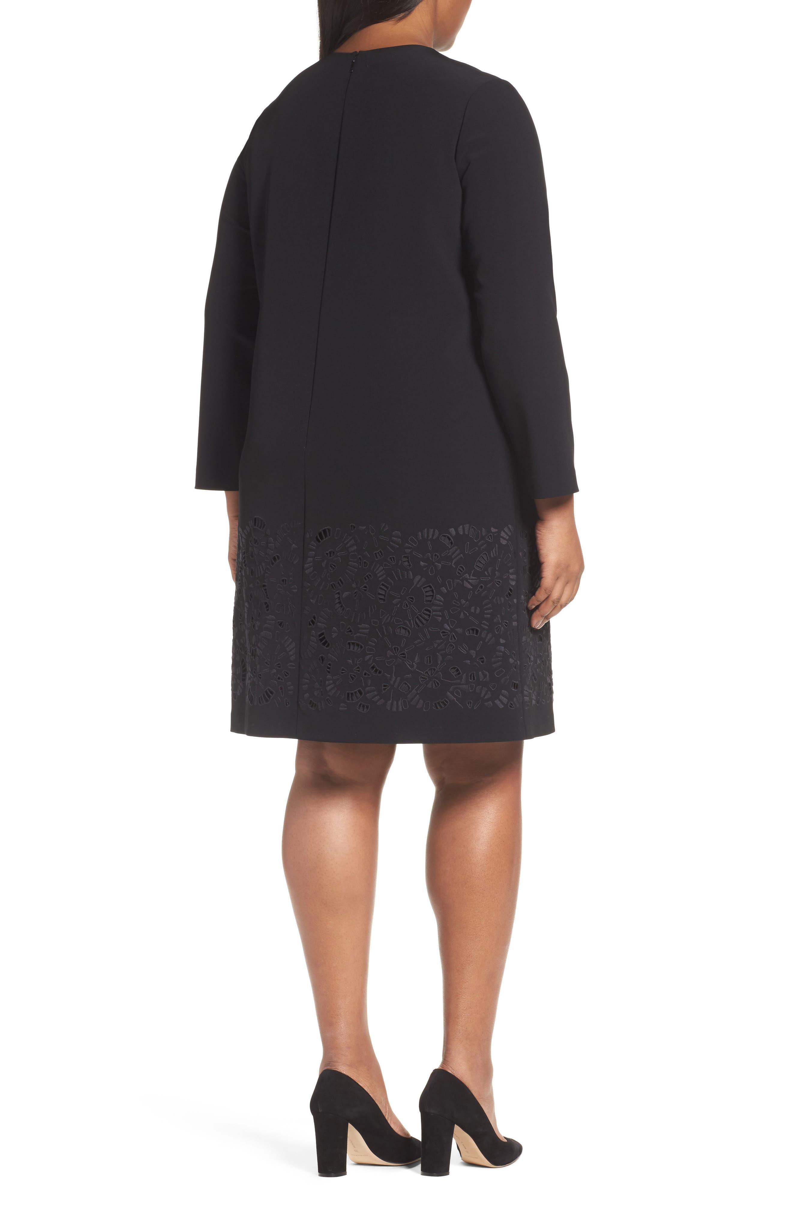 Corbin Laser Cut Dress,                             Alternate thumbnail 2, color,                             Black