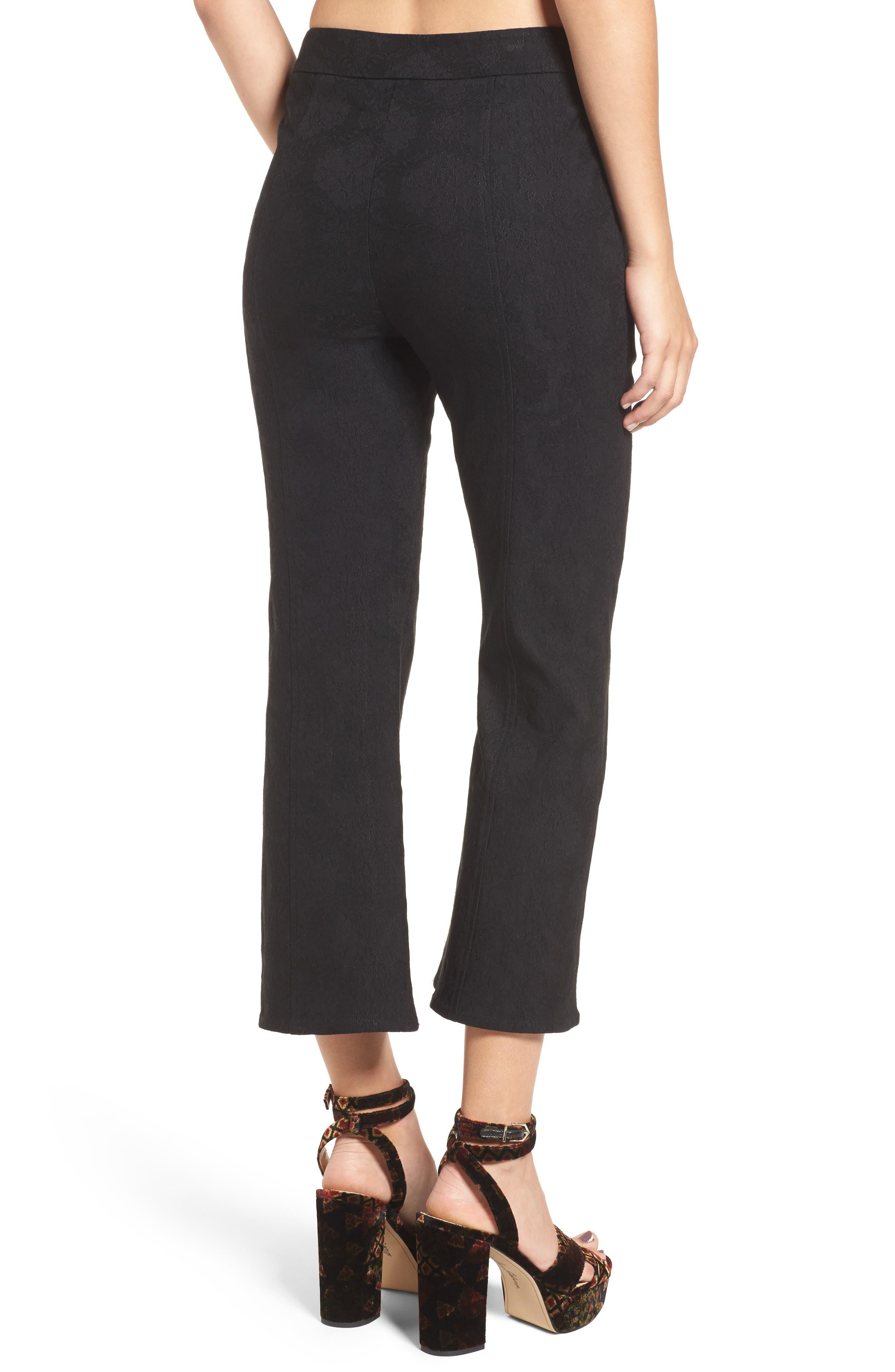 Leigh High Waist Crop Pants,                             Alternate thumbnail 3, color,                             Black