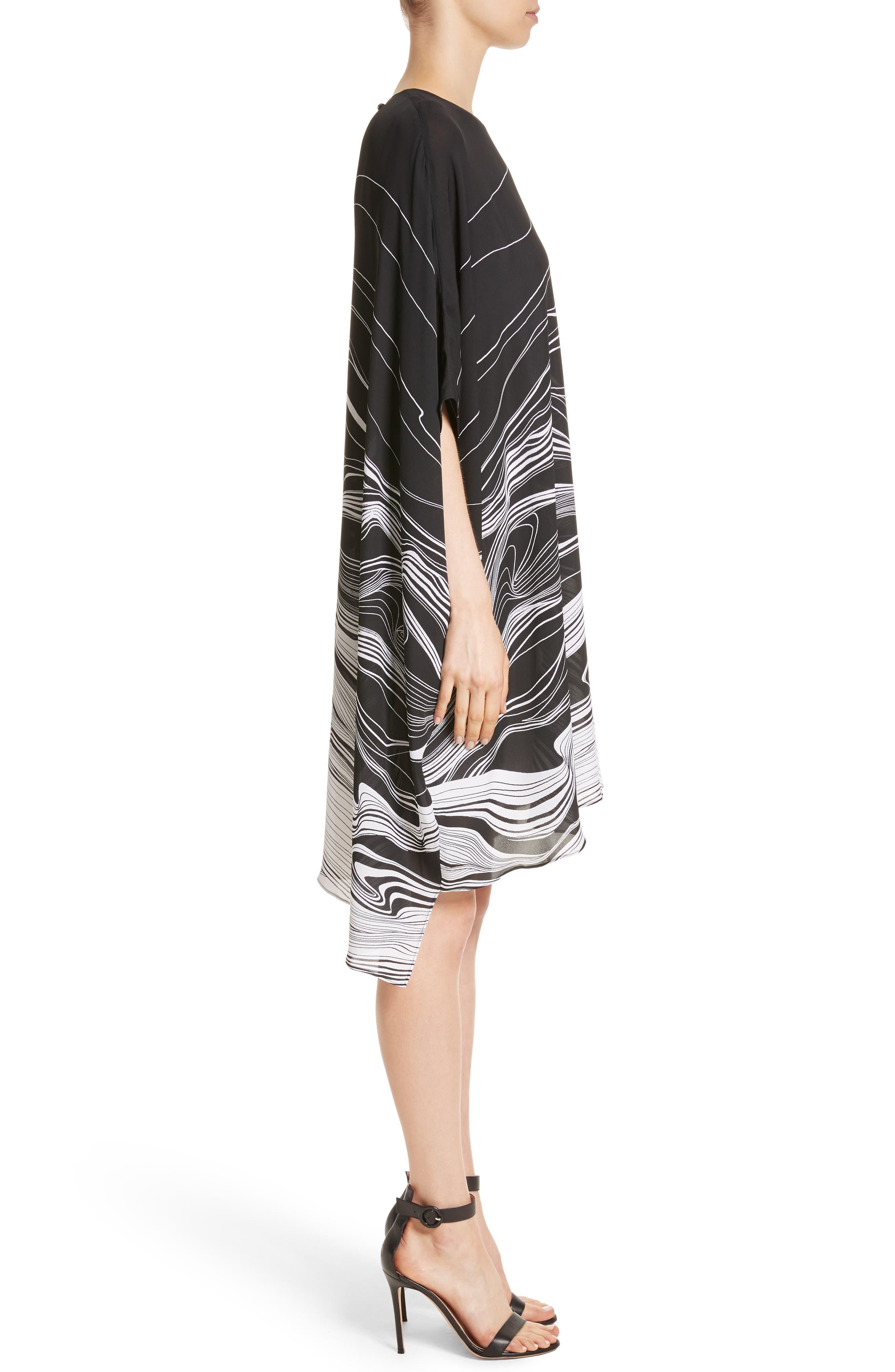 Brushstroke Print Silk Satin Dress,                             Alternate thumbnail 3, color,                             Caviar/ Bianco