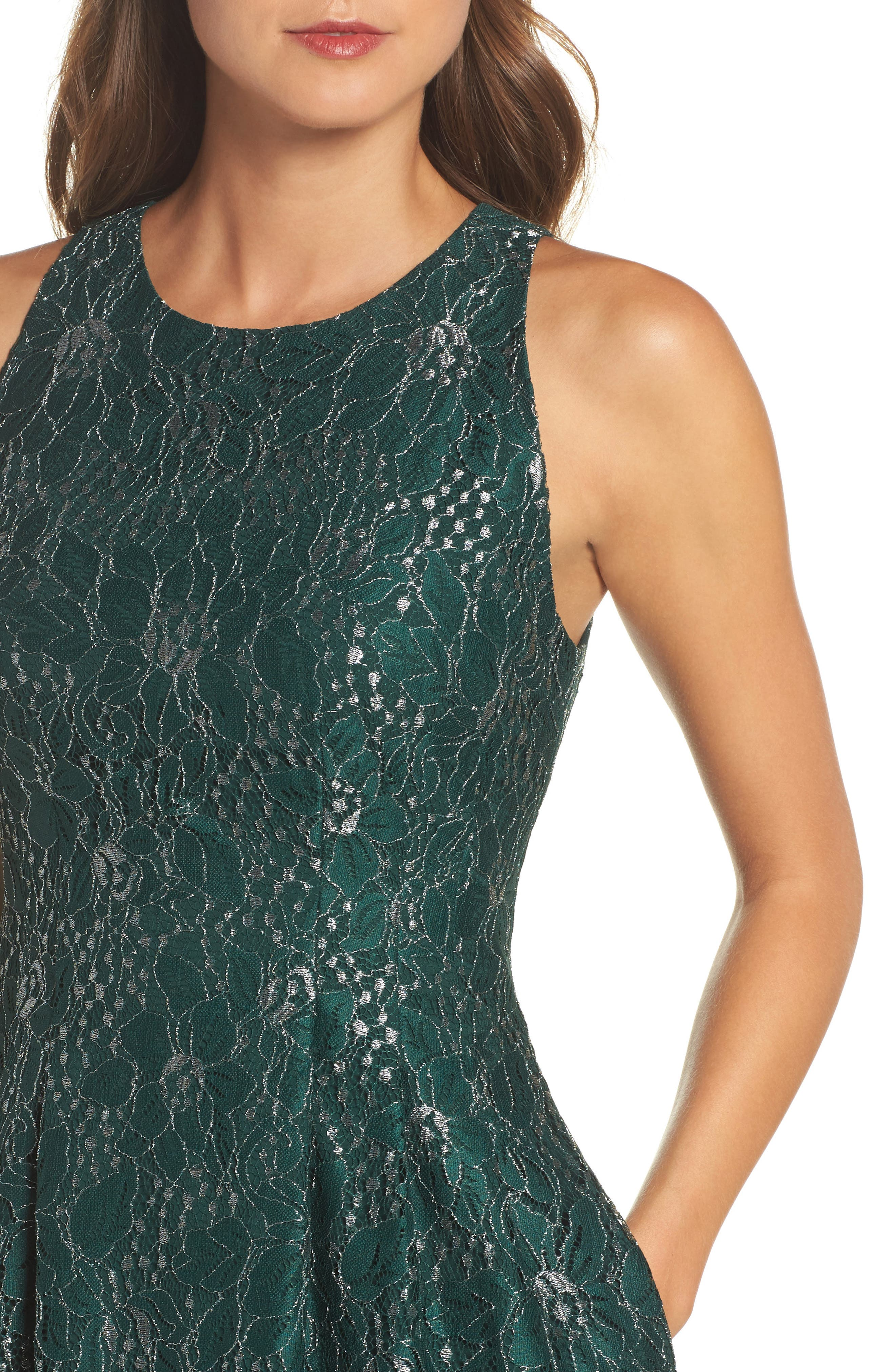 Alternate Image 4  - Vince Camuto Metallic Lace Fit & Flare Dress