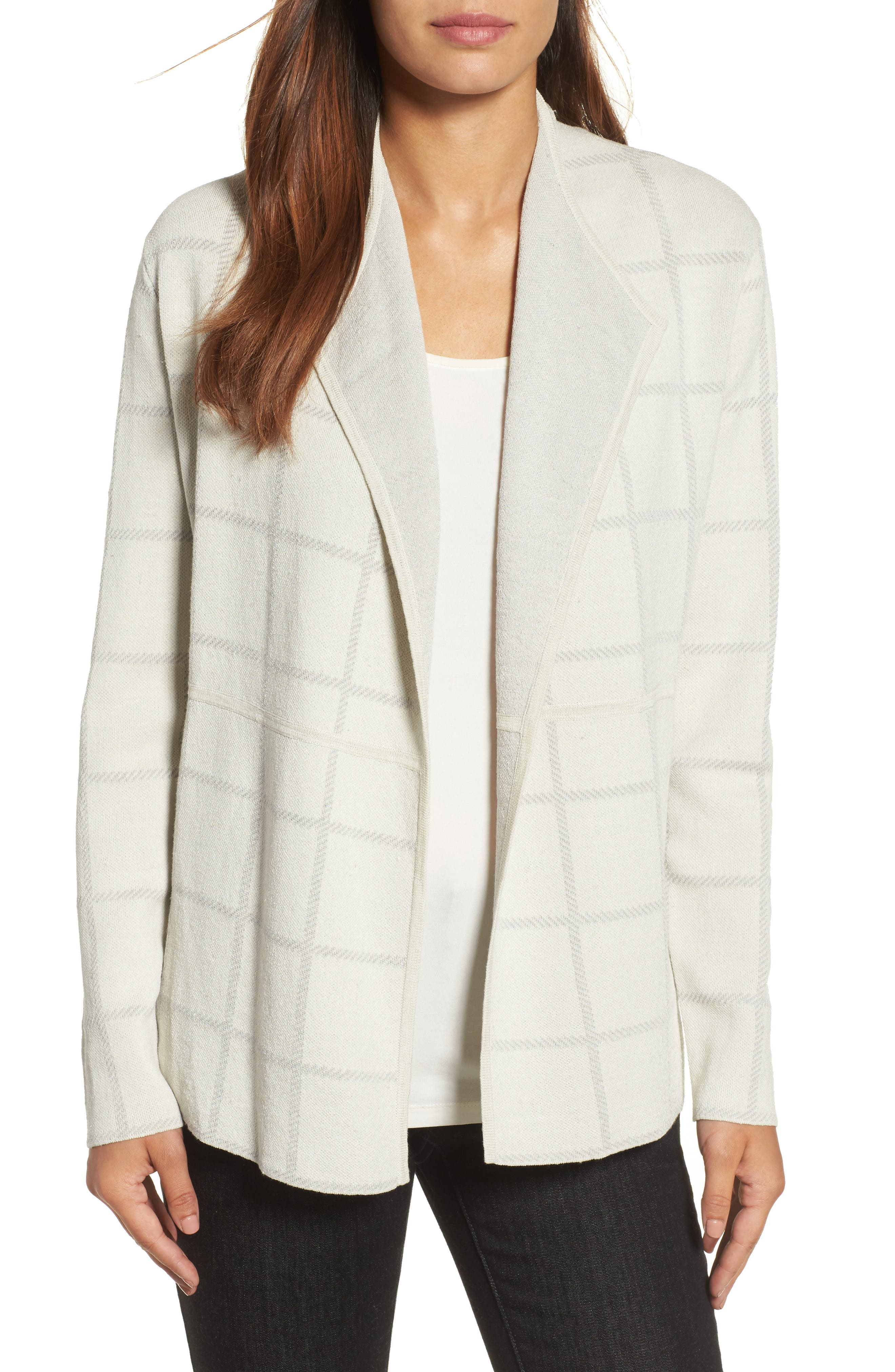 Eileen Fisher Linen Blend Angle Front Cardigan