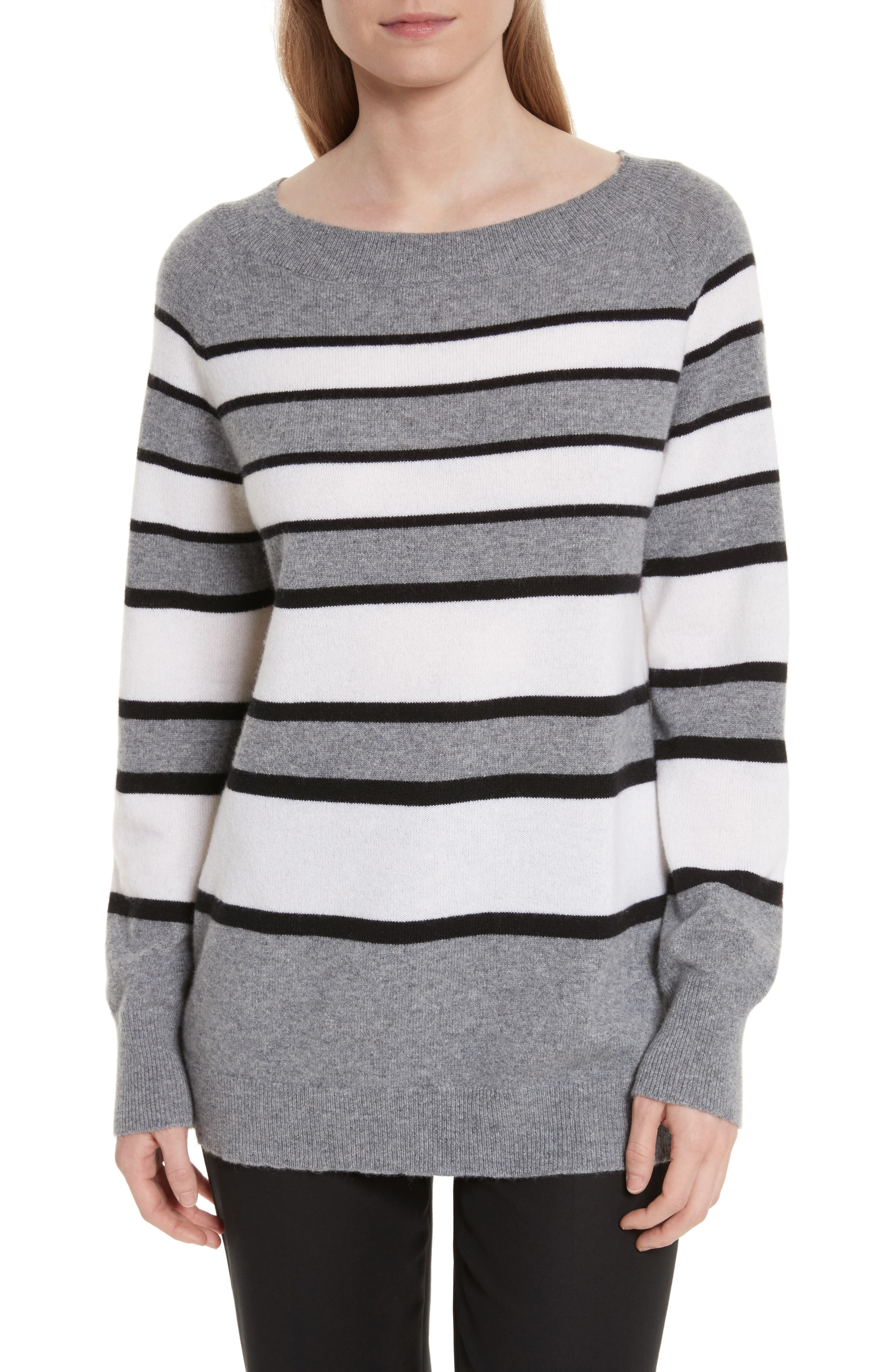 Cody Stripe Cashmere Boat Neck Sweater,                         Main,                         color, Heather Grey Multi