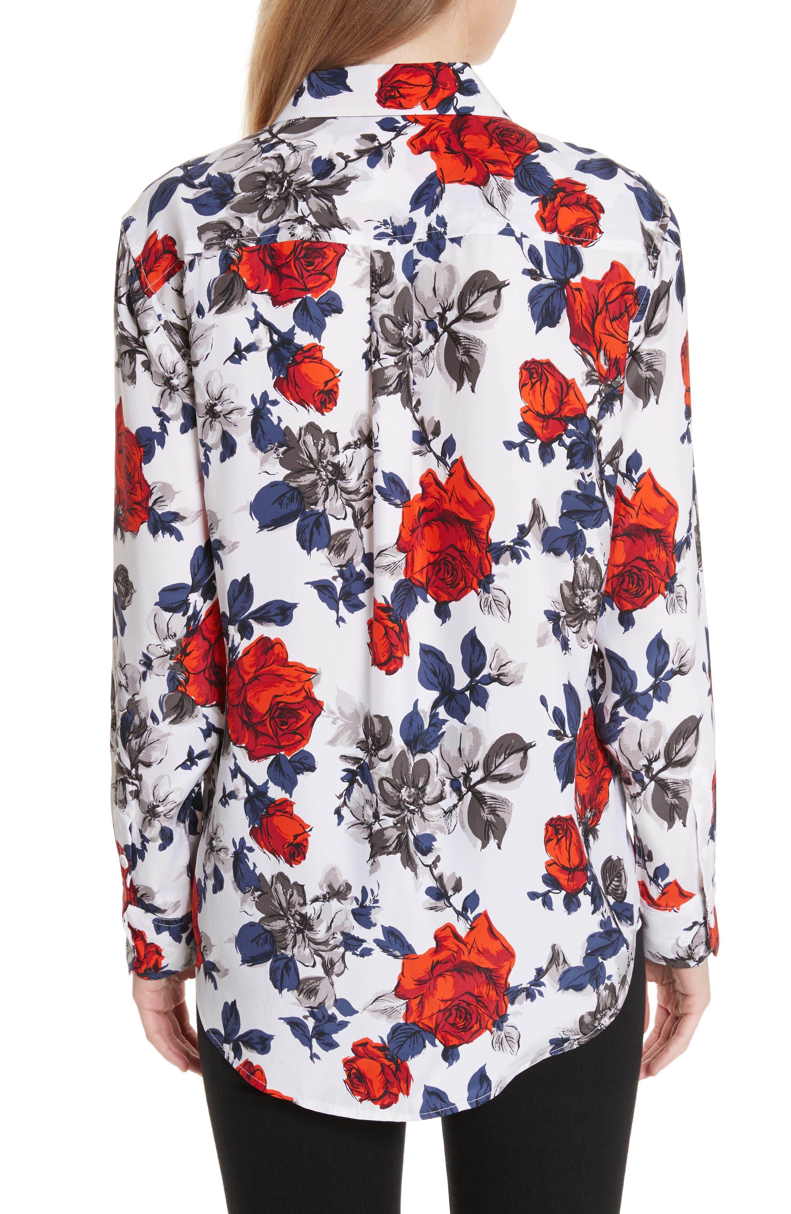 Signature Floral Silk Shirt,                             Alternate thumbnail 2, color,                             Bright White Multi