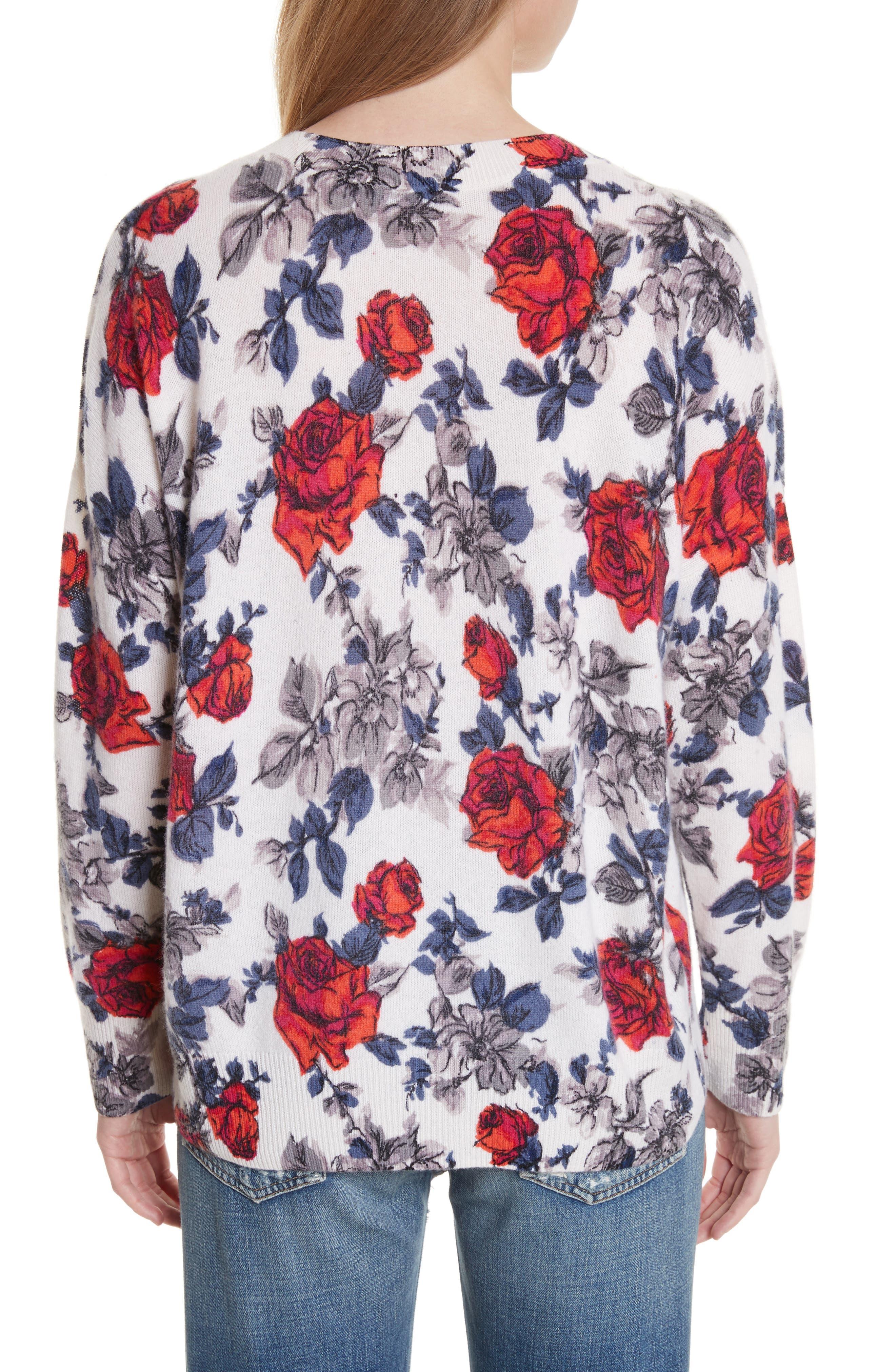 Melanie Flower Print Cashmere Sweater,                             Alternate thumbnail 2, color,                             Ivory Multi