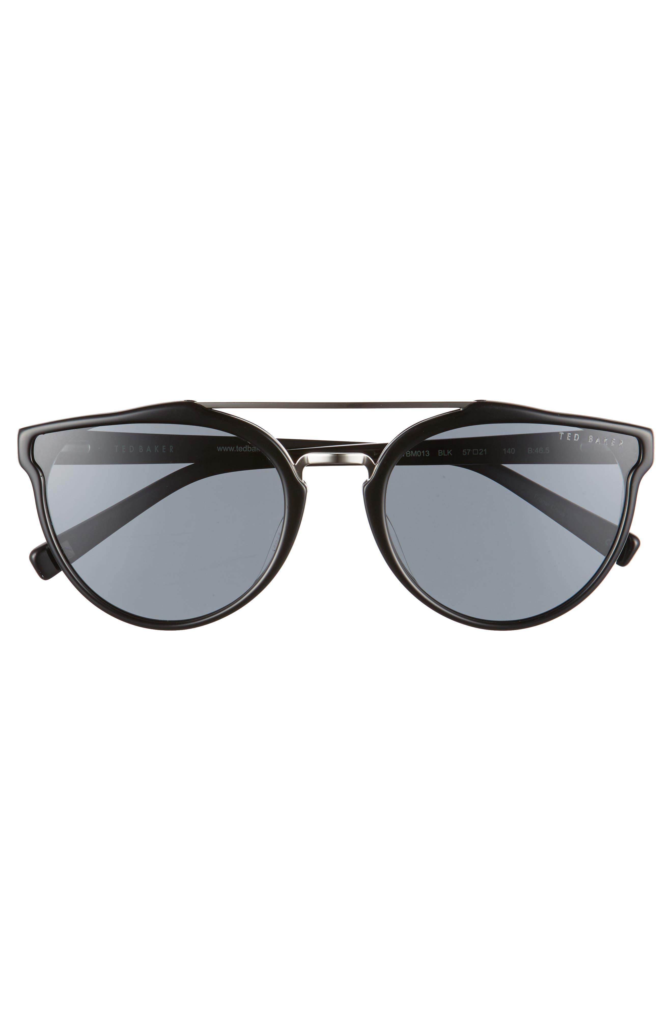 Retro 57mm Polarized Sunglasses,                             Alternate thumbnail 2, color,                             Black