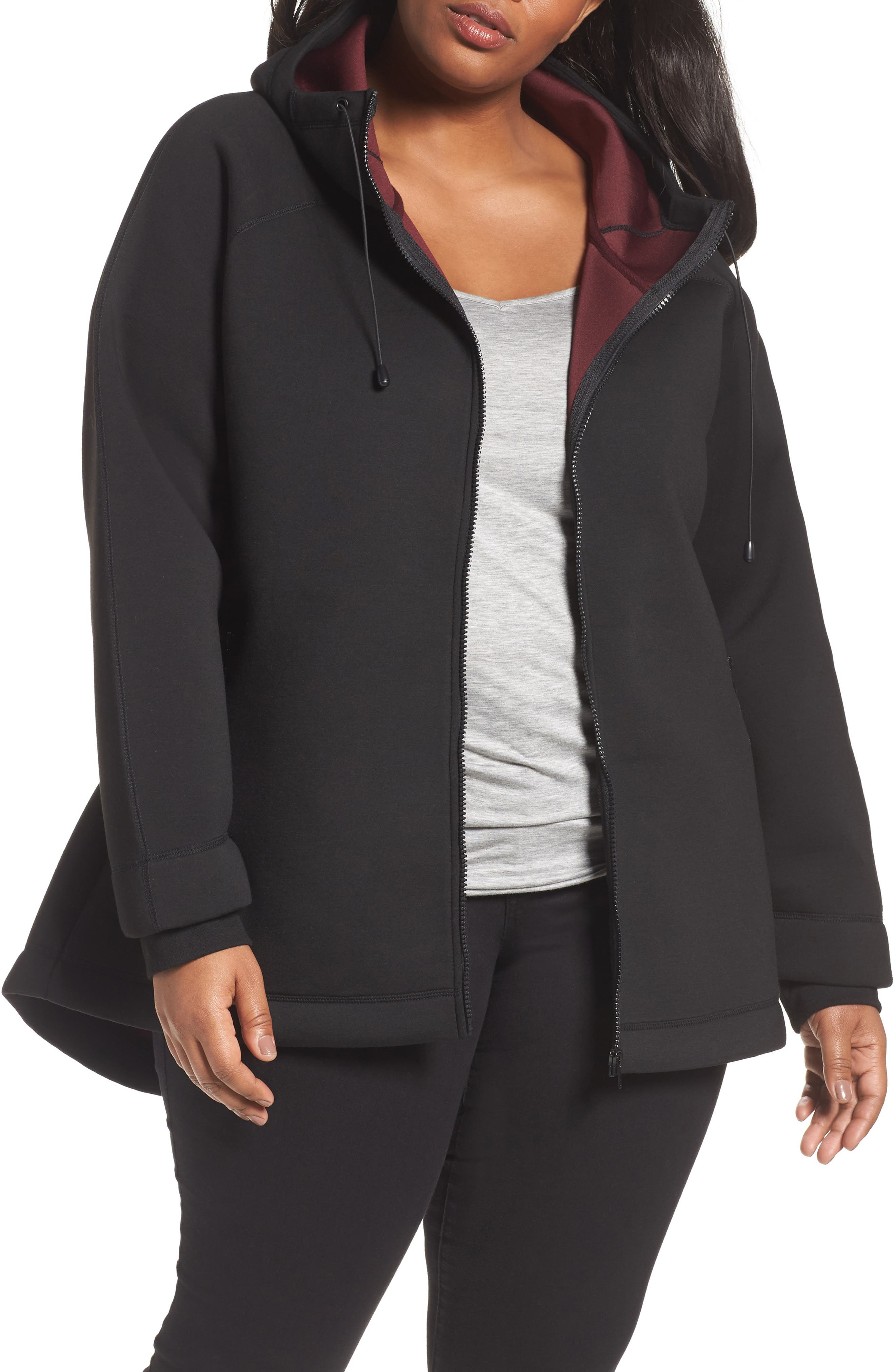Mono Knit Drawstring Hooded Jacket,                             Main thumbnail 1, color,                             Black/ Burgundy