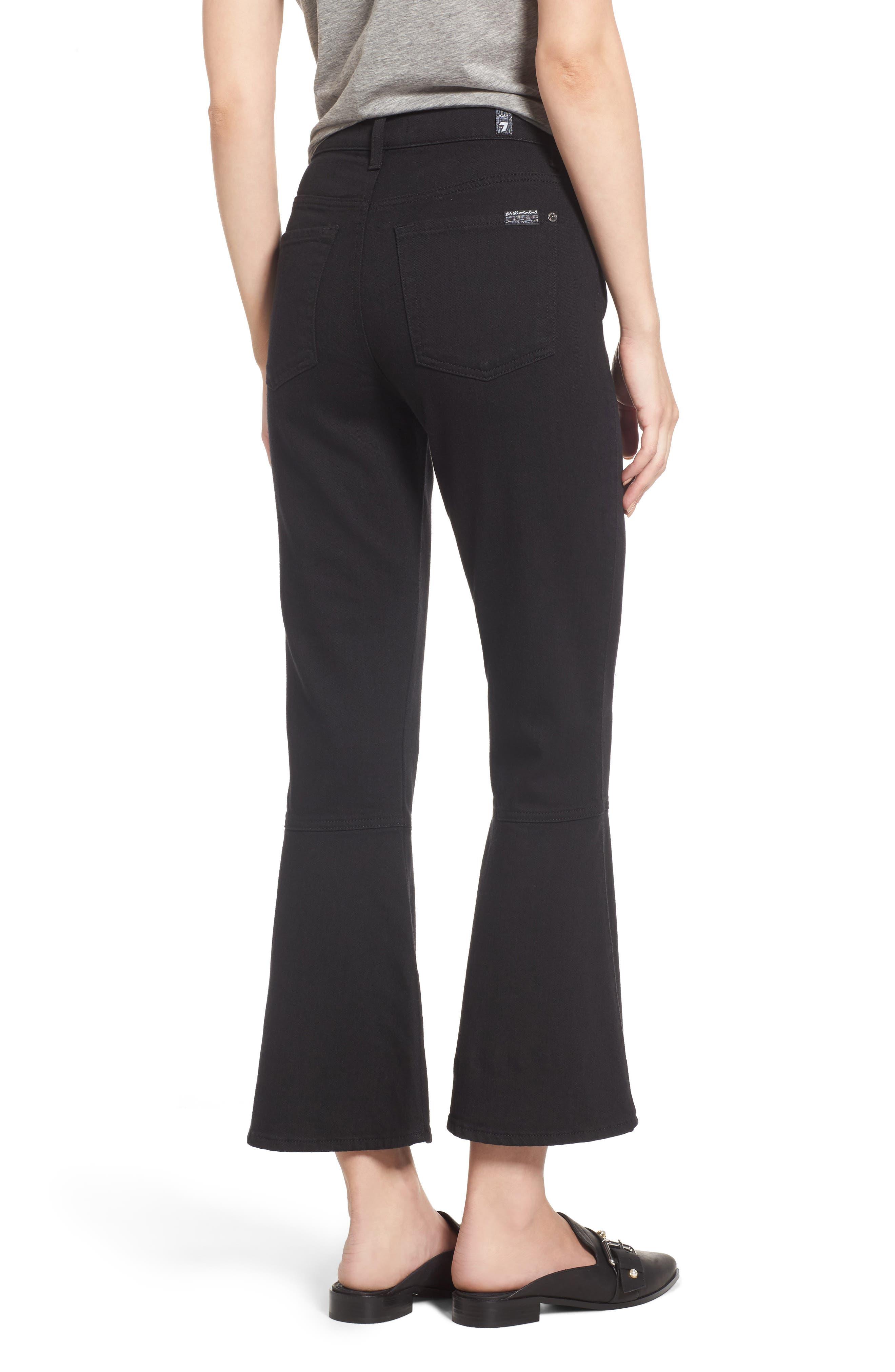 Priscilla High Waist Crop Flare Jeans,                             Alternate thumbnail 2, color,                             Night Black