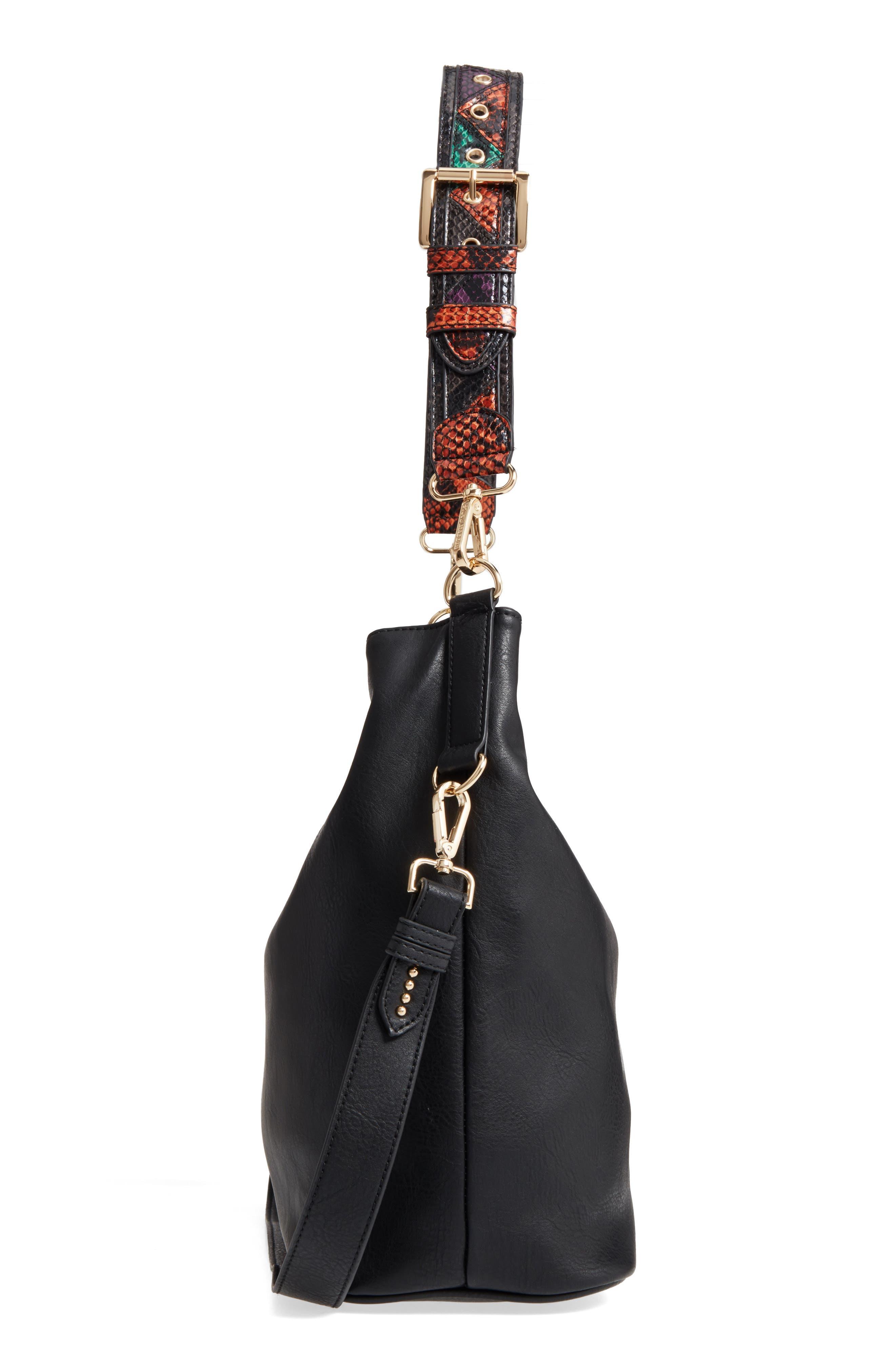 Faux Leather Hobo,                             Alternate thumbnail 3, color,                             Black