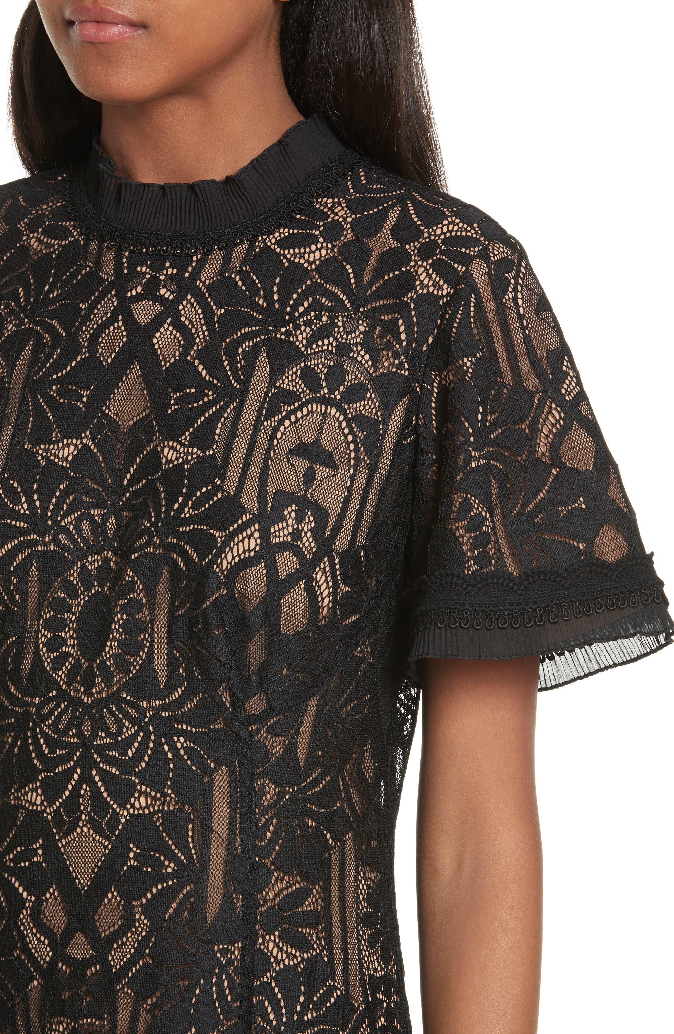 Alternate Image 4  - Jonathan Simkhai Tower Mesh Lace Ruffle Minidress