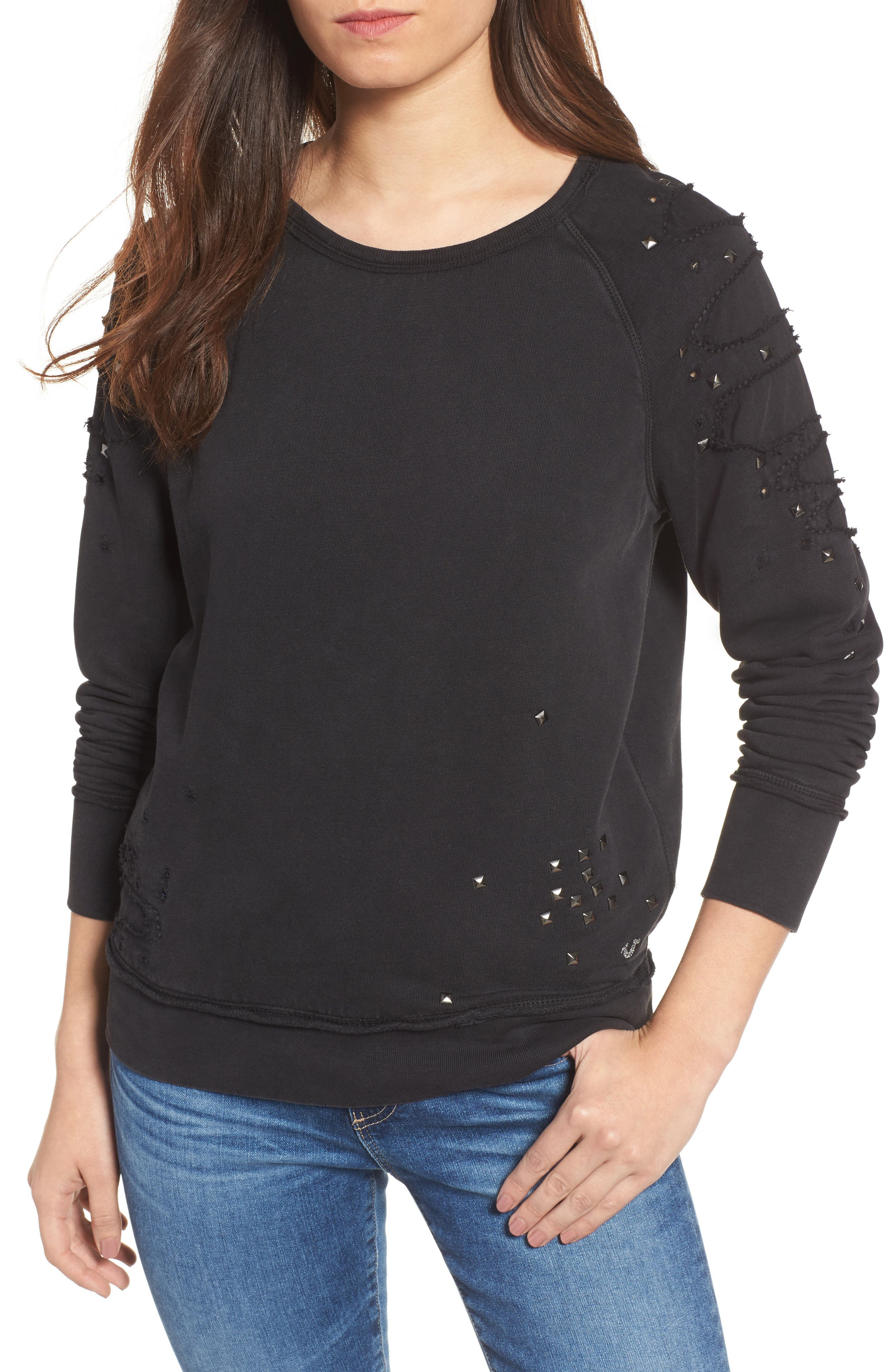 Distressed Boyfriend Sweatshirt,                         Main,                         color, Black