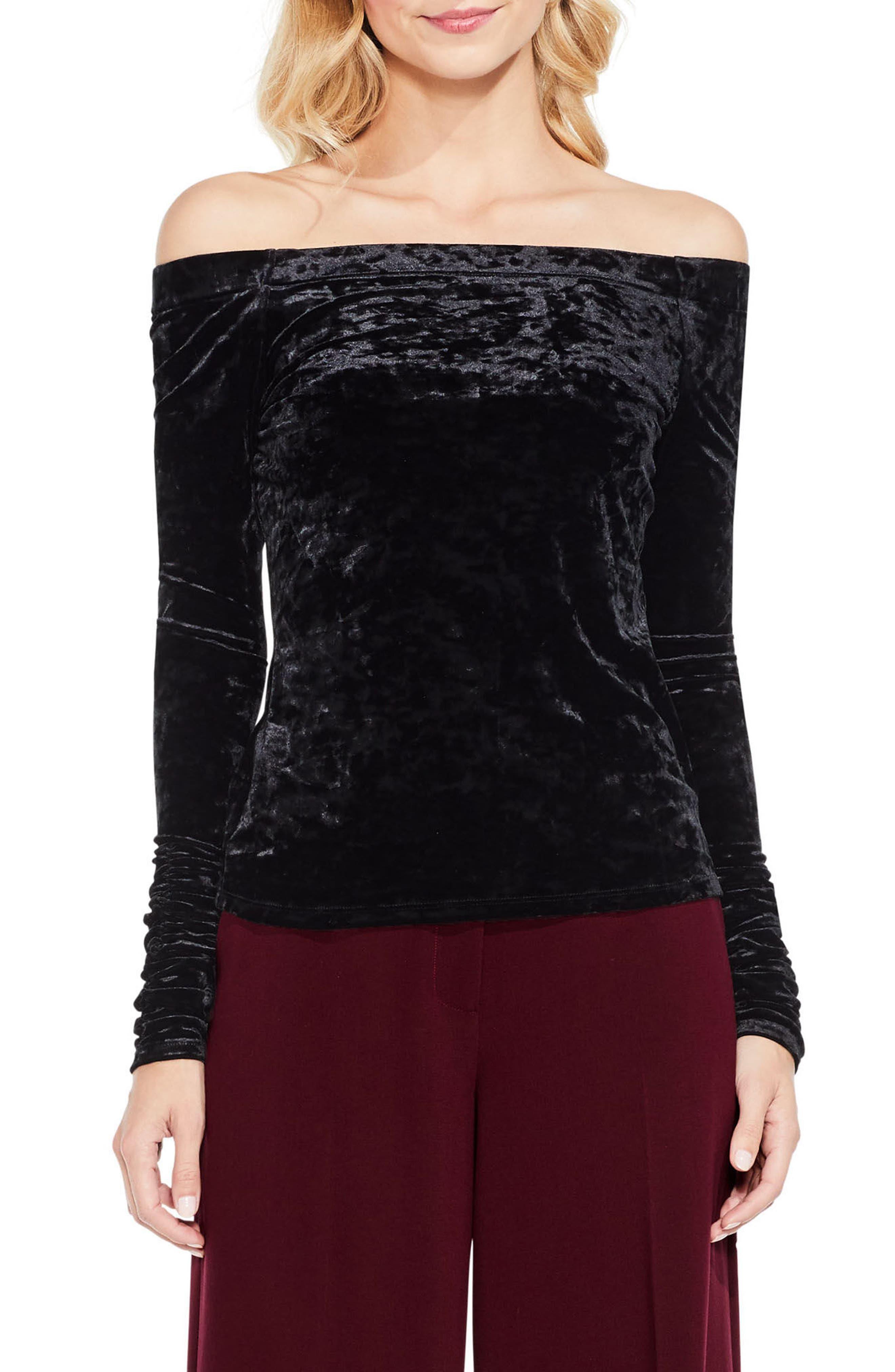 Ruched Off the Shoulder Velvet Top,                         Main,                         color, Rich Black