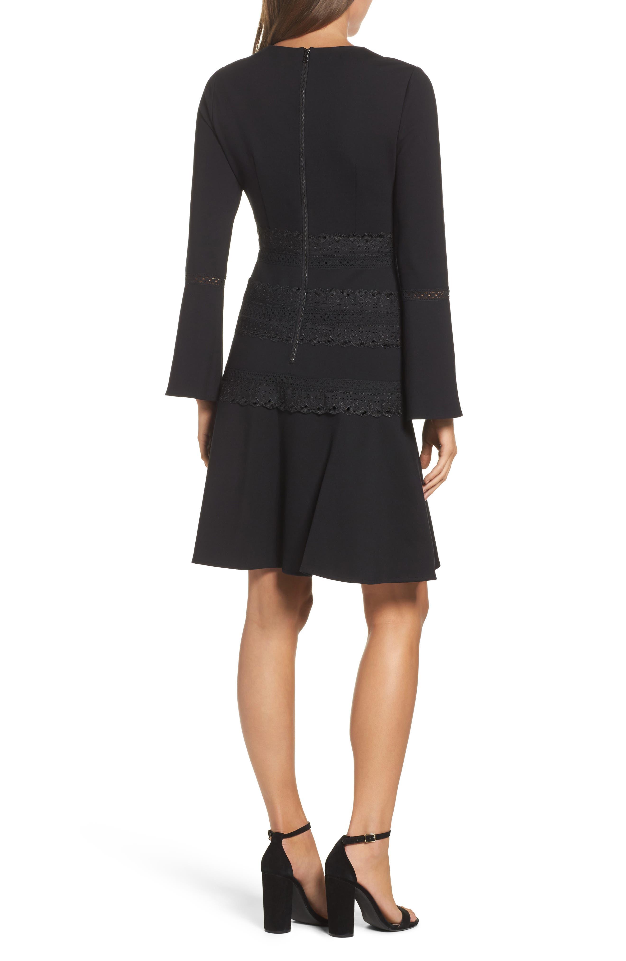 Preslie Double Knit A-Line Dress,                             Alternate thumbnail 2, color,                             Black