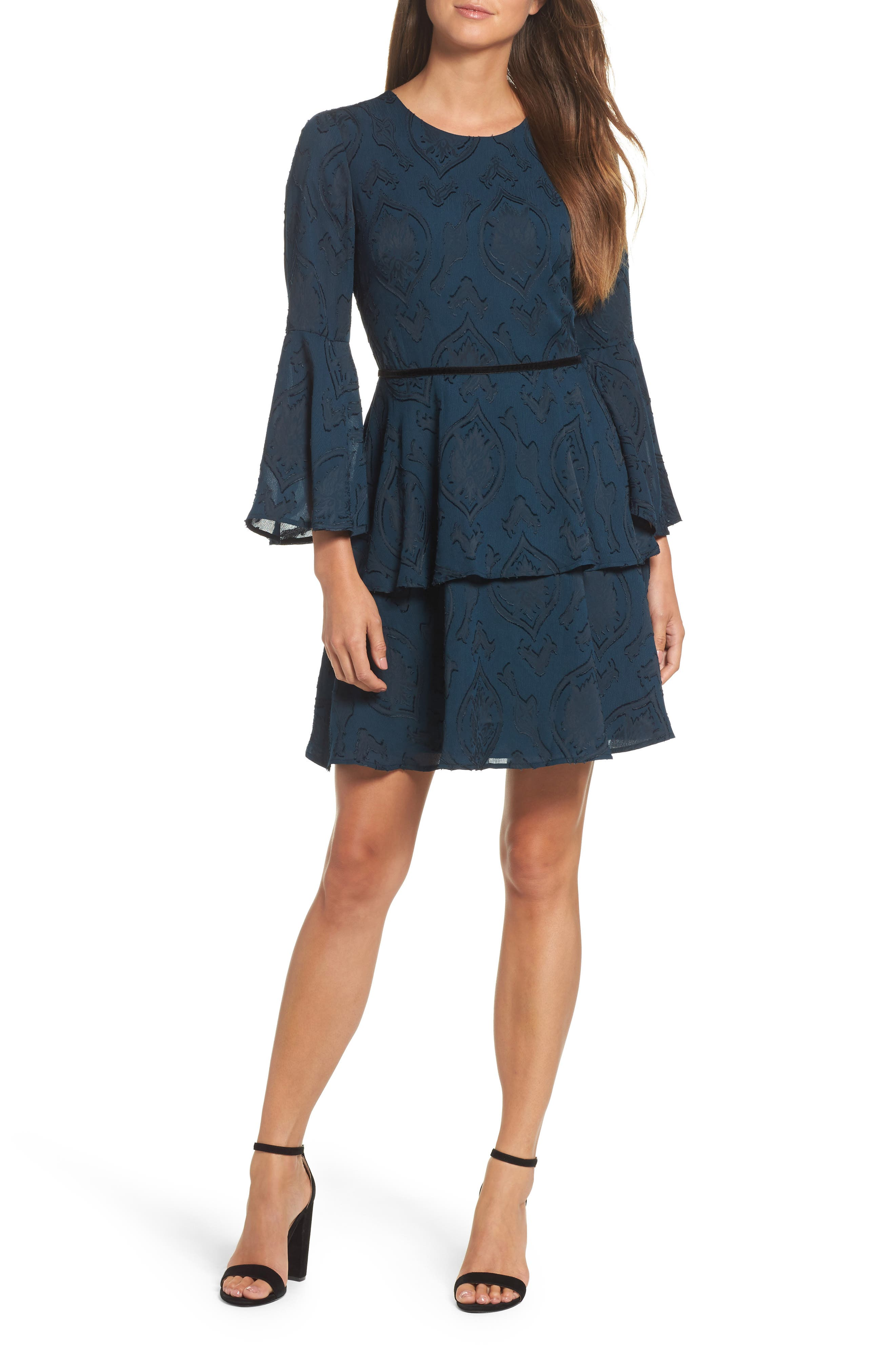 Tiered Chiffon Fit & Flare Dress,                             Main thumbnail 1, color,                             Teal/ Black