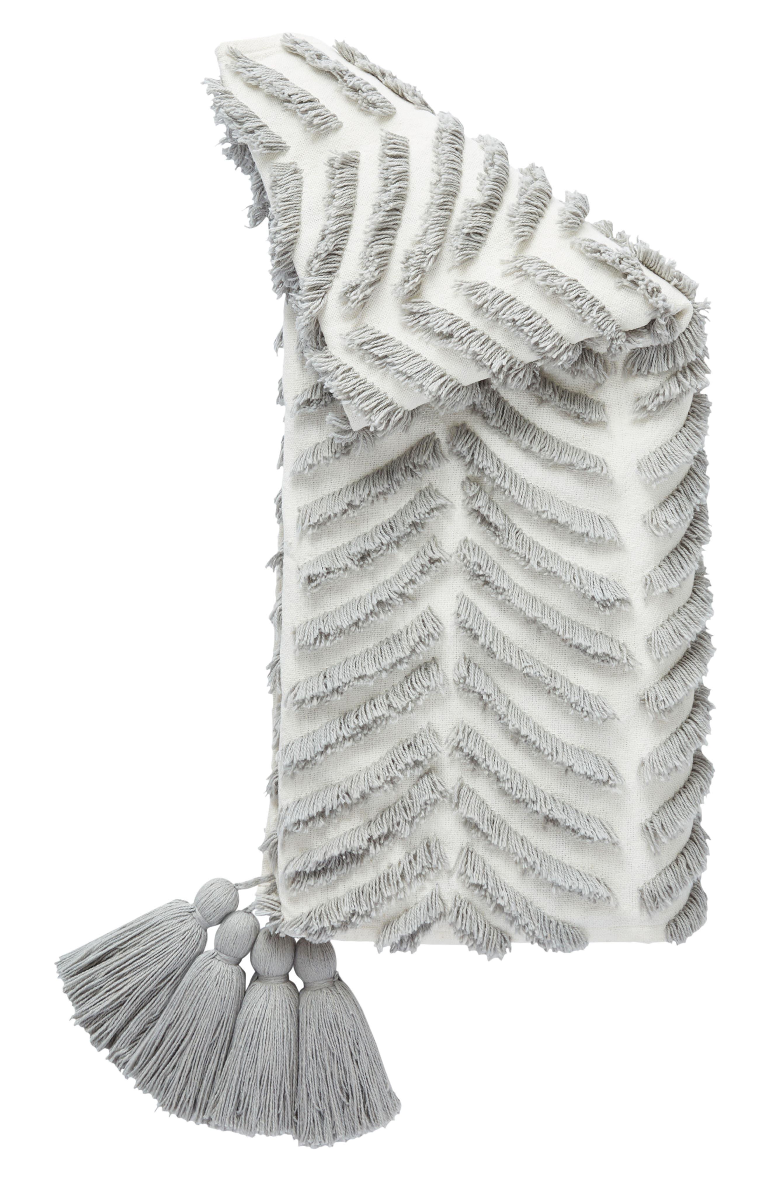 Tassel Throw Blanket,                             Main thumbnail 1, color,                             White/ Grey