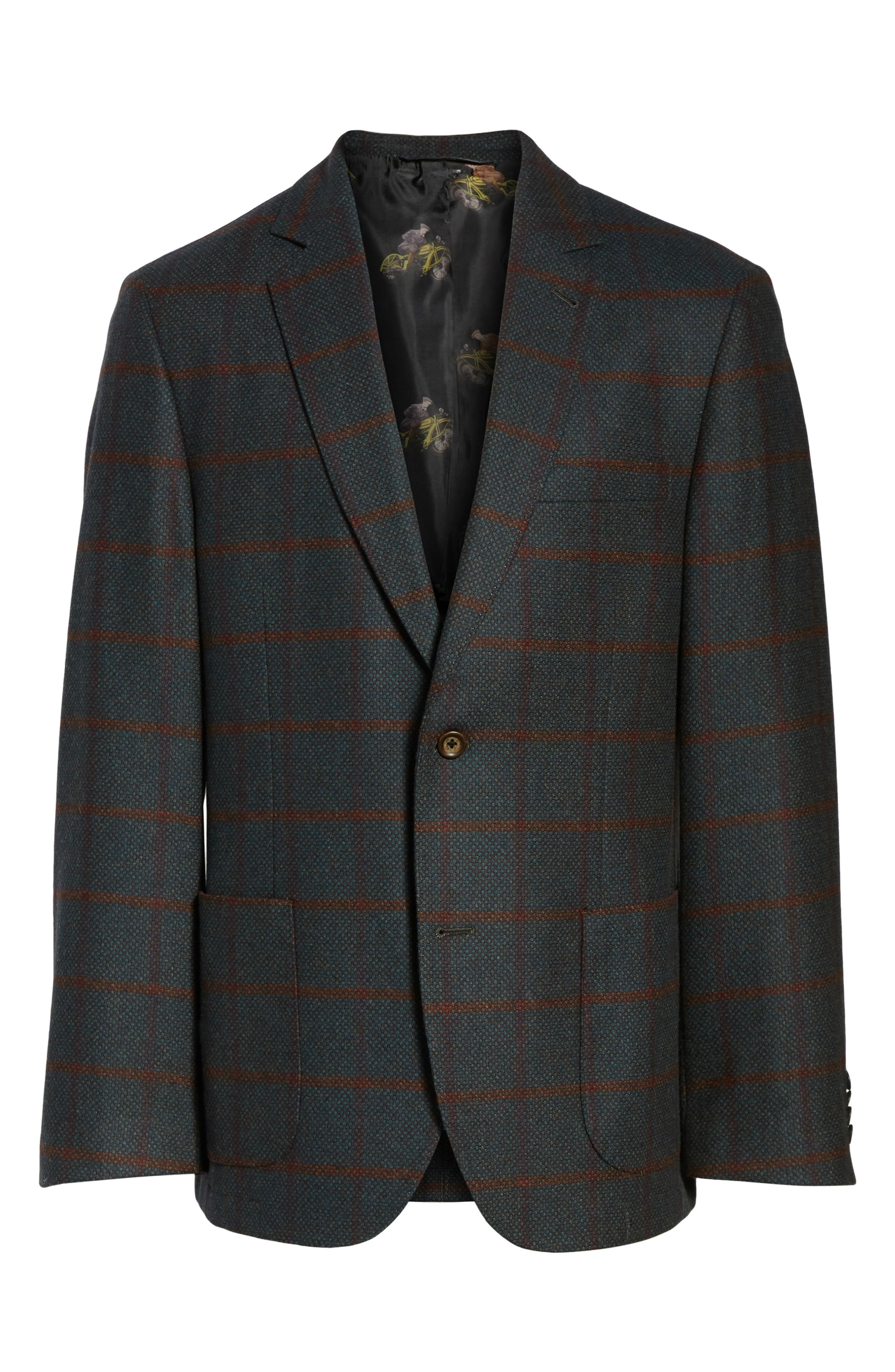 Classic Fit Windowpane Wool Sport Coat,                             Alternate thumbnail 6, color,                             Green