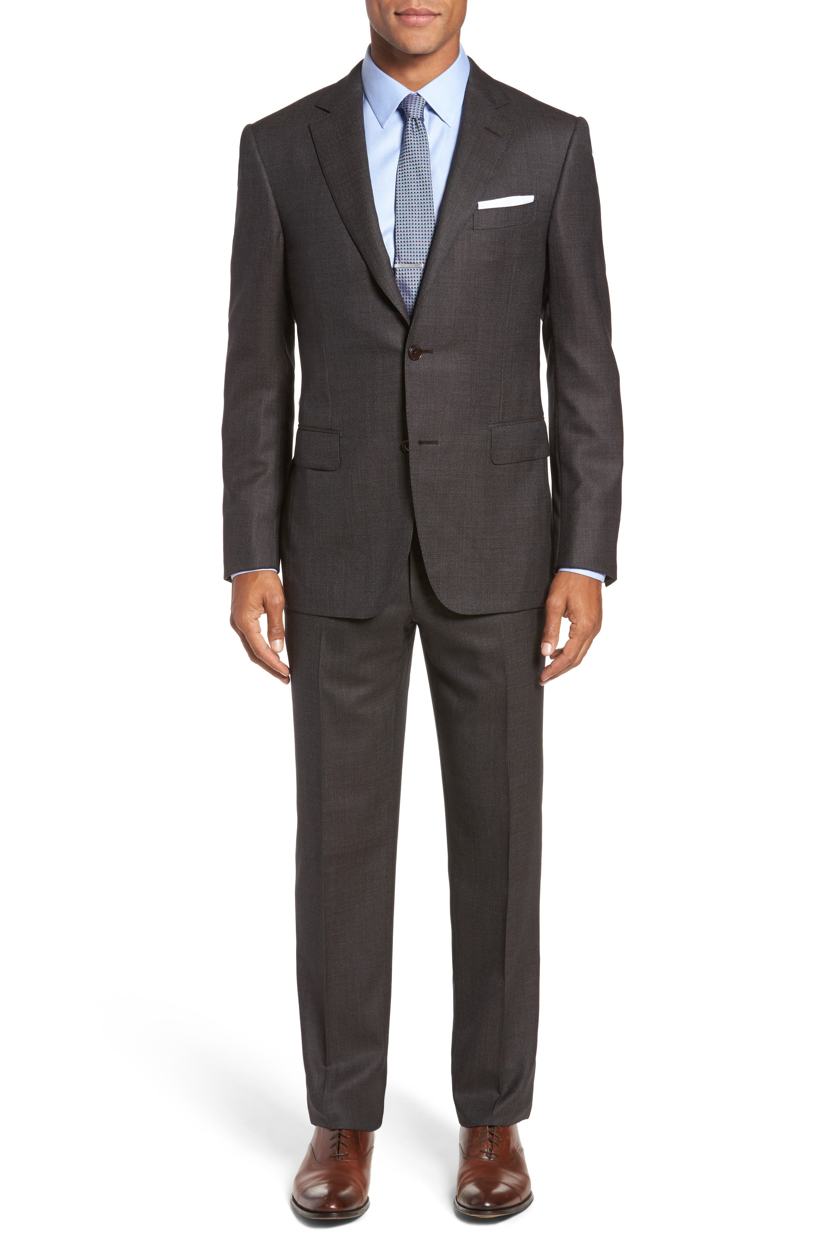 Classic Fit Micro Weave Wool Suit,                         Main,                         color, Brown