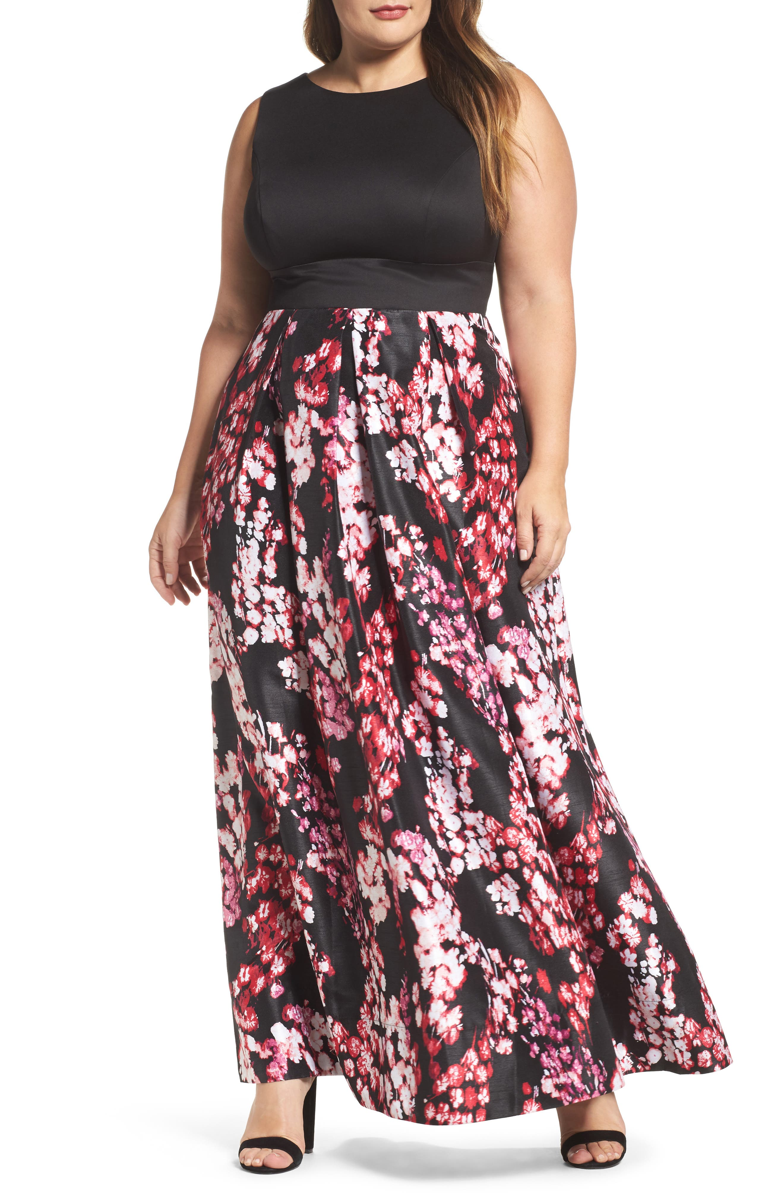 Sangria Floral Fit & Flare Maxi Dress (Plus Size)