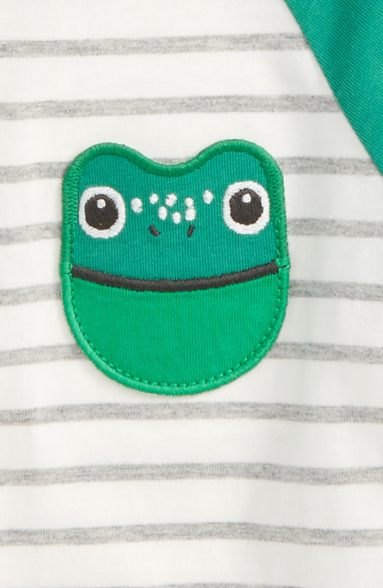 Pocket Pet T-Shirt,                             Alternate thumbnail 2, color,                             Ecru/ Grey Marl Stripe Frog