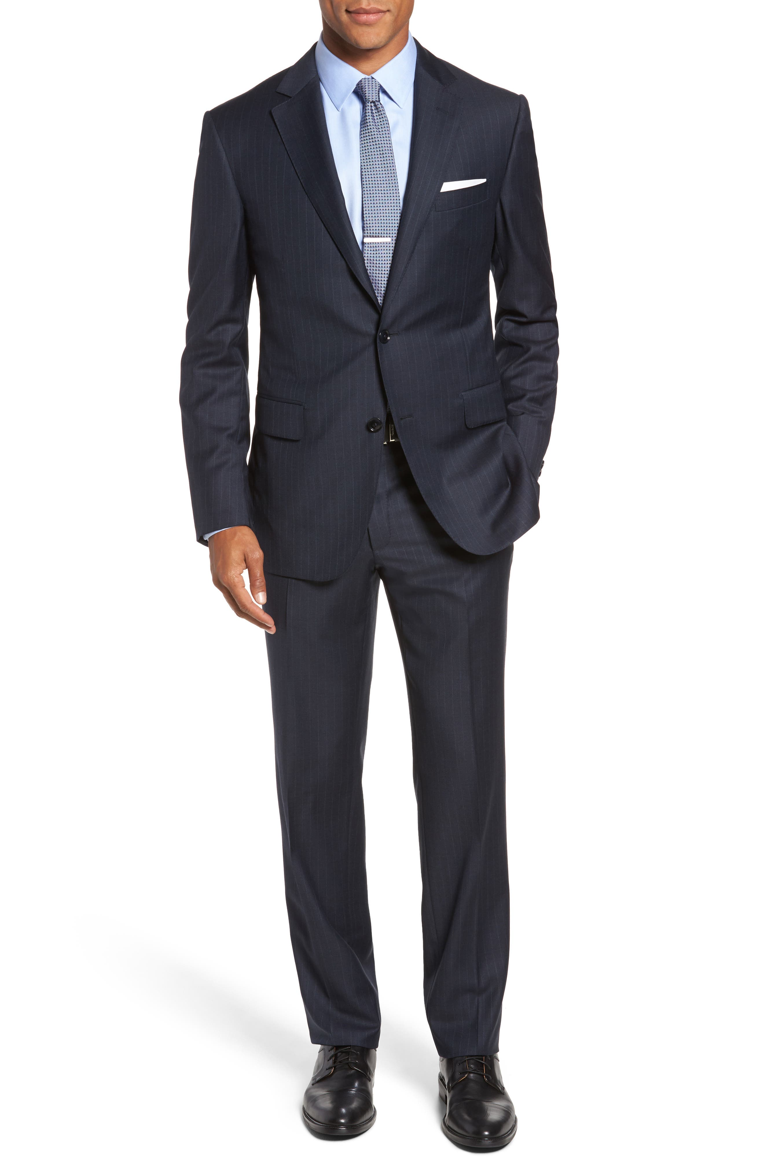 Pal Zileri Classic Fit Banker Stripe Wool Suit