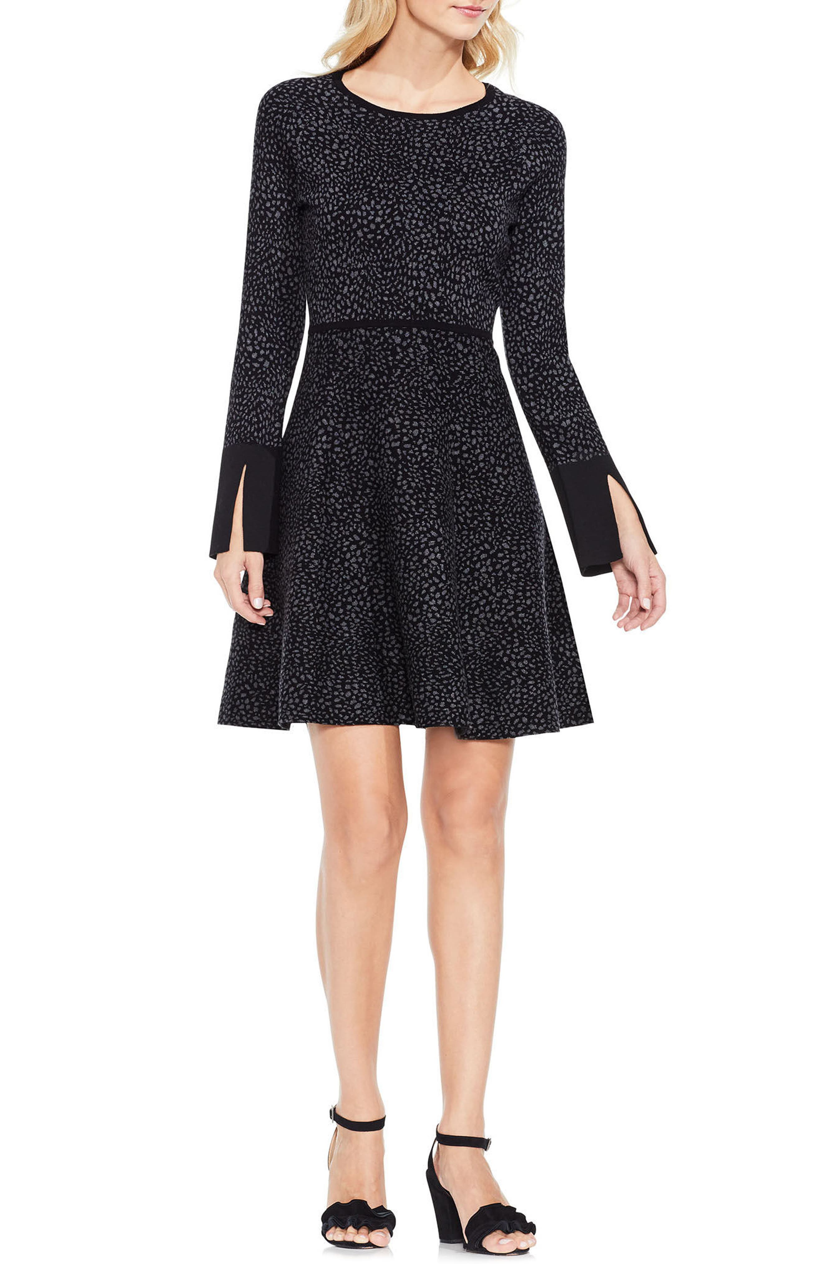 Jacquard Fit & Flare Dress,                             Alternate thumbnail 2, color,                             Rich Black