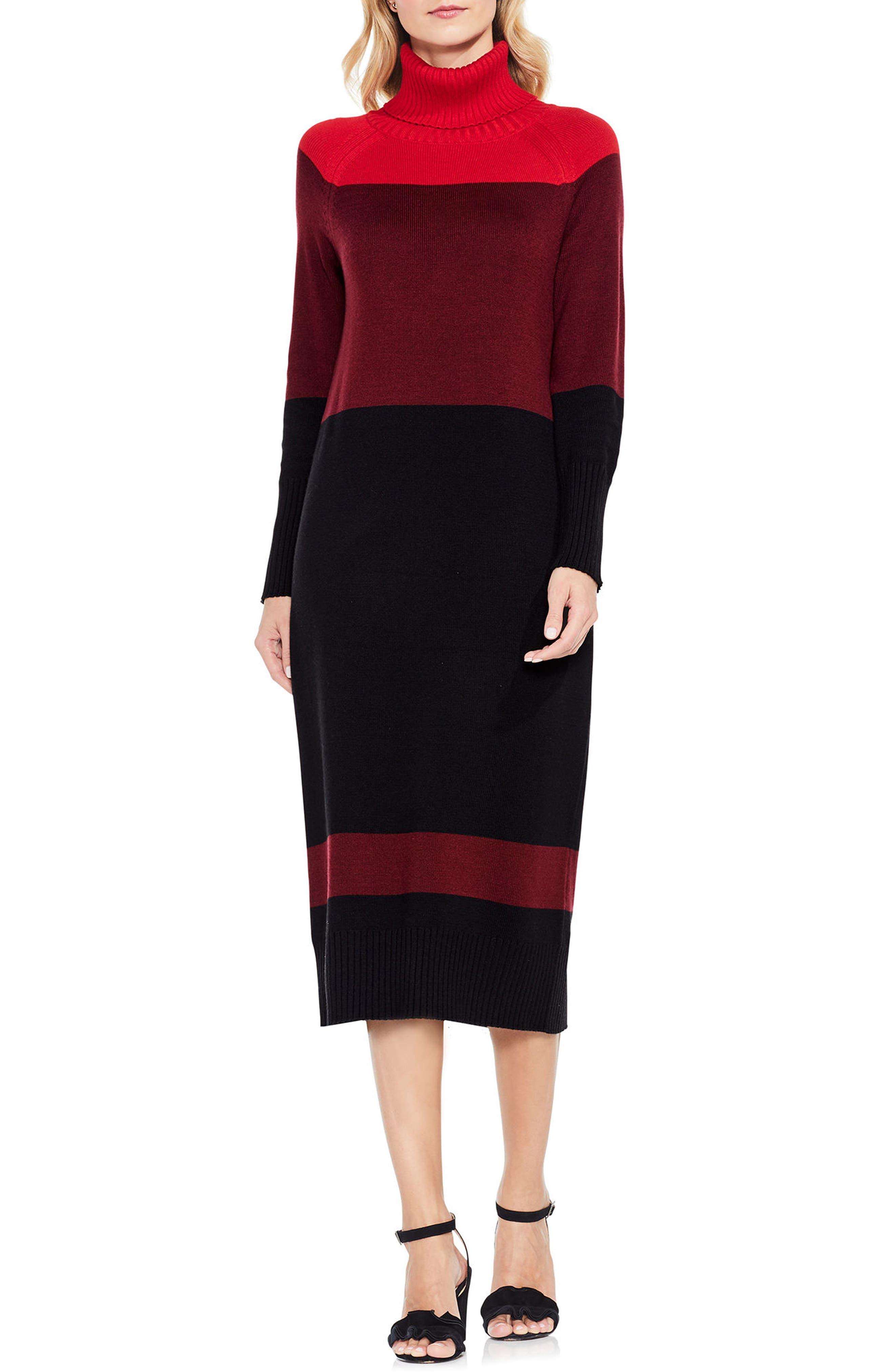 Colorblock Turtleneck Sweater Dress,                         Main,                         color, True Crimson