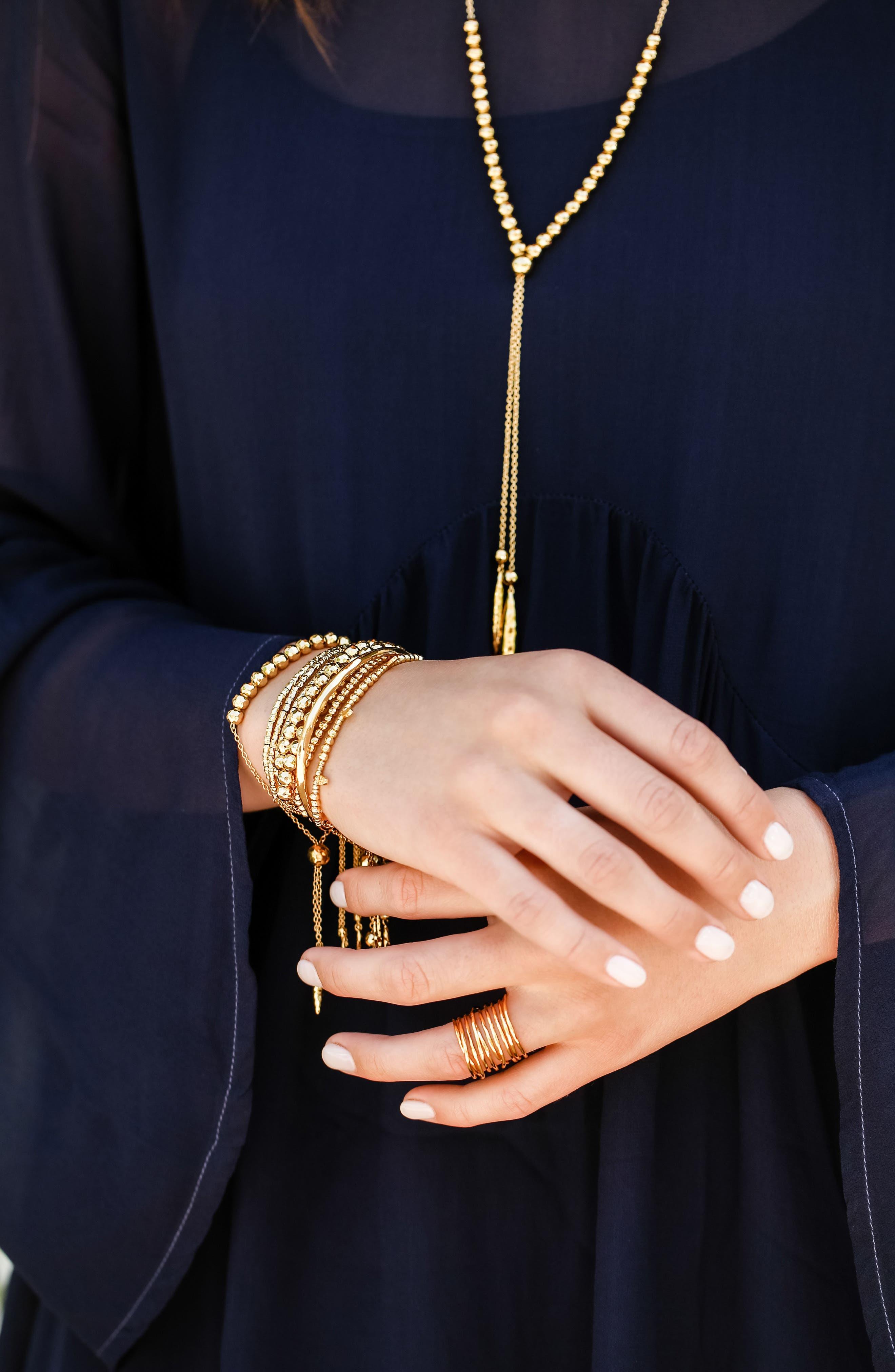 Leucadia Beaded Bracelet,                             Alternate thumbnail 3, color,                             Gold