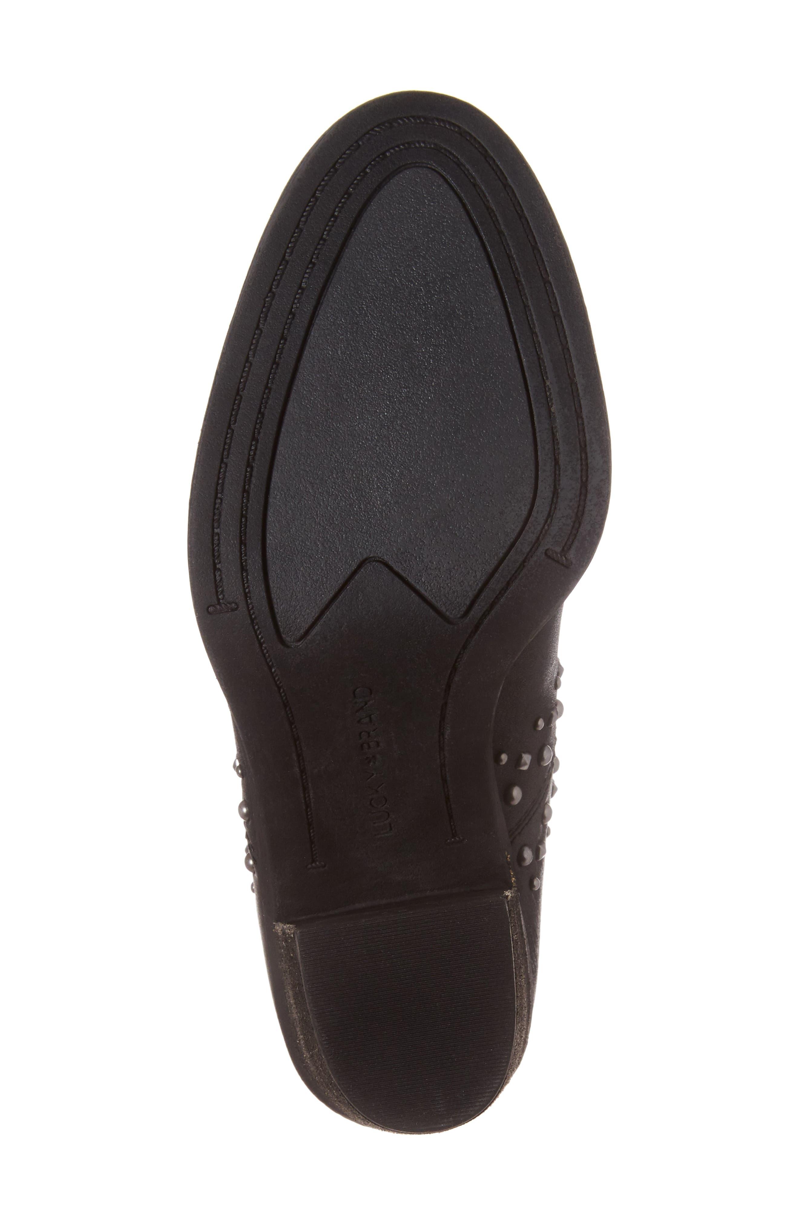 Sancha Studded Bootie,                             Alternate thumbnail 6, color,                             Black Leather