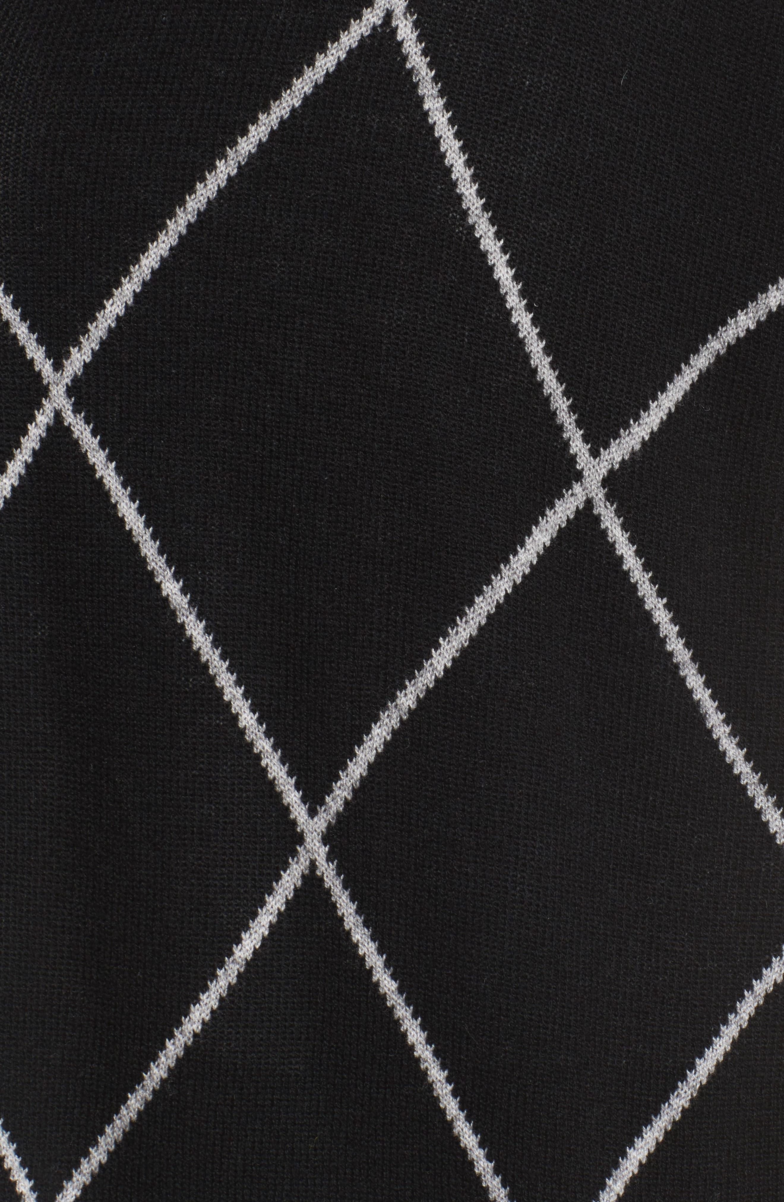 Windowpane Wool & Cashmere Cardigan,                             Alternate thumbnail 6, color,                             Black Windowpane