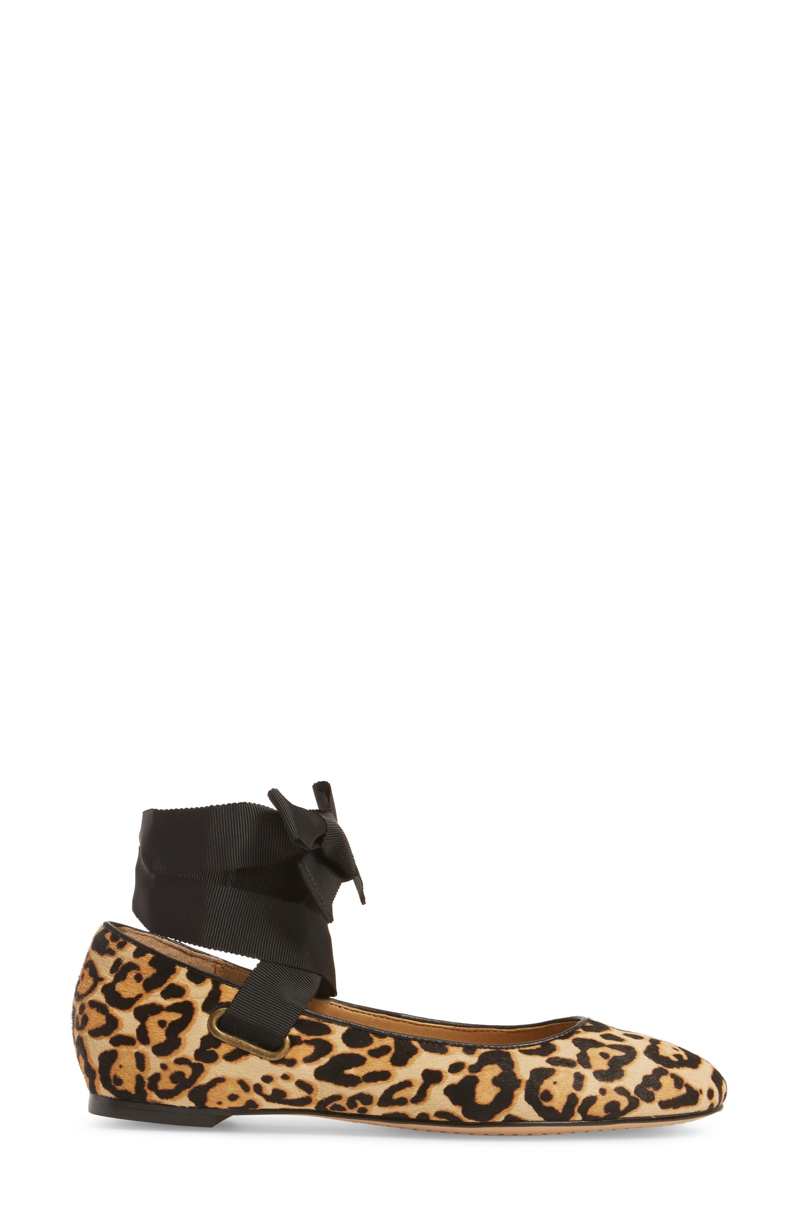 Renee II Genuine Calf Hair Ankle Tie Flat,                             Alternate thumbnail 3, color,                             Leopard Calf Hair
