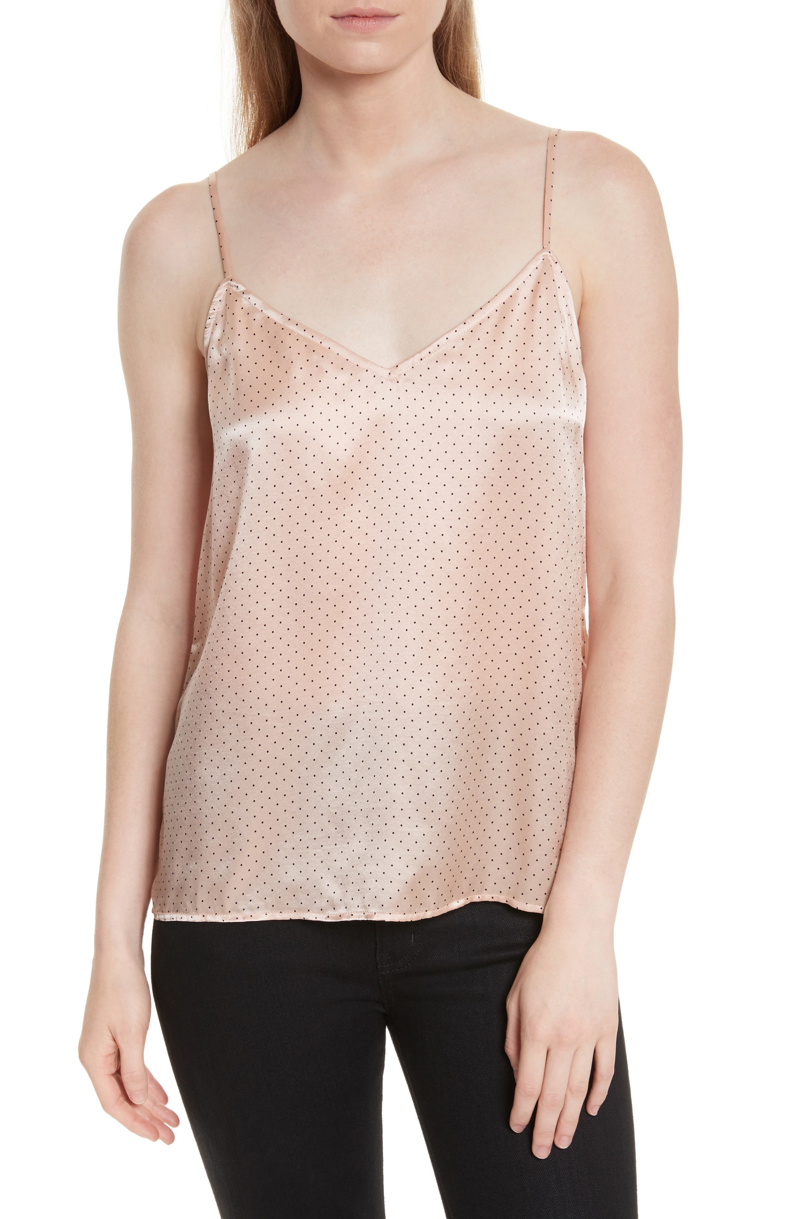 Layla Heart Print Silk Camisole,                         Main,                         color, French Nude/ True Black