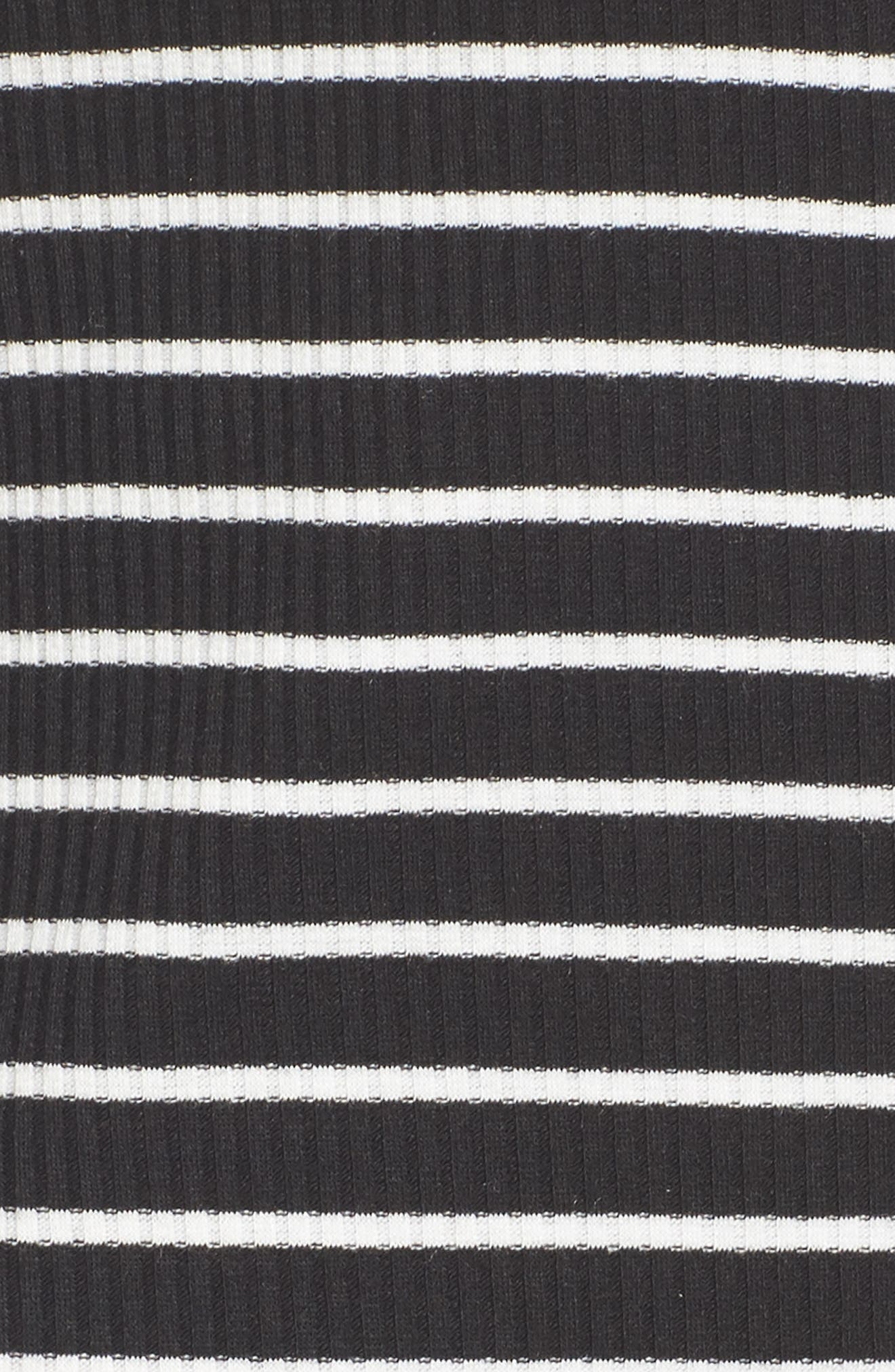 Stripe Off the Shoulder Top,                             Alternate thumbnail 5, color,                             Blk/ Wht Stripe